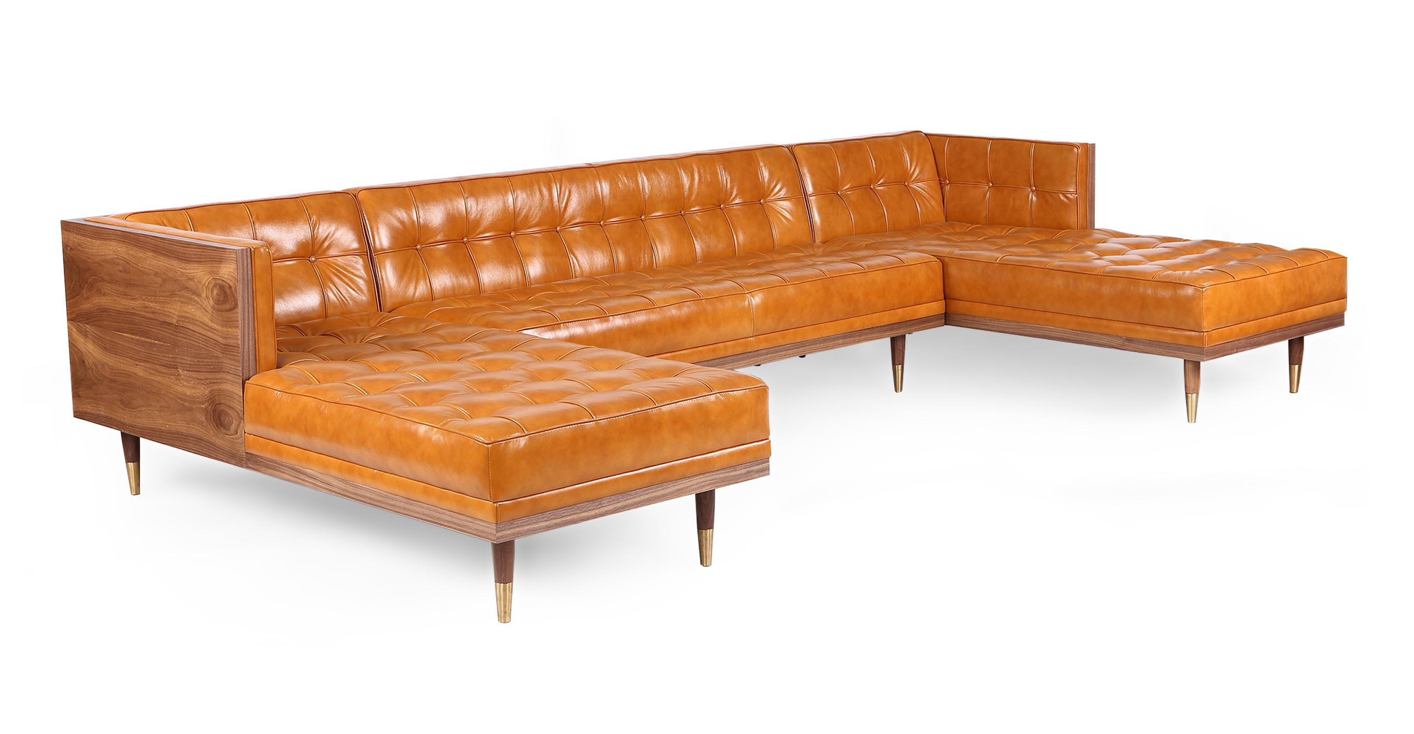"""Woodrow Box 126"""" Leather Sofa U-Sectional, Walnut/Tan Aniline"""