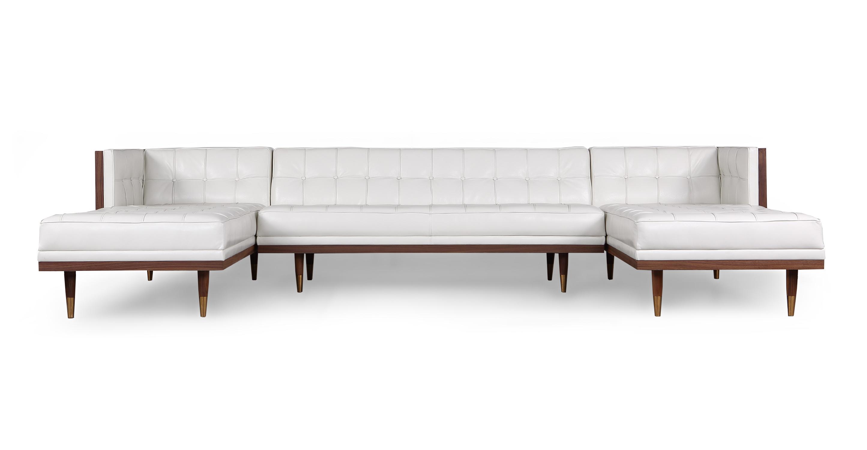 """Woodrow Box 126"""" Sofa U-Sectional, Walnut/White Aniline"""