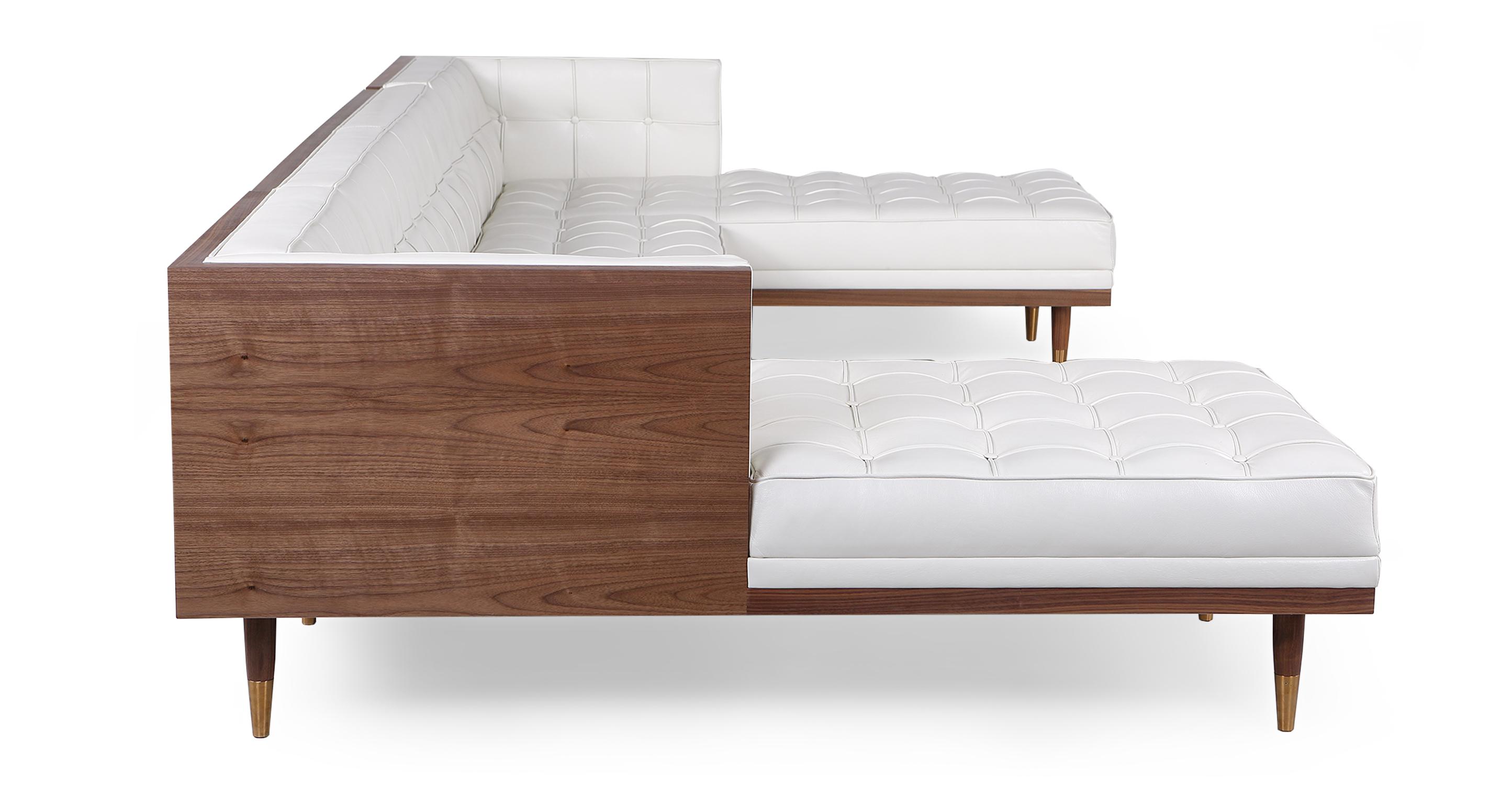 """Woodrow Box 126"""" Leather Sofa U-Sectional, Walnut/White Aniline"""