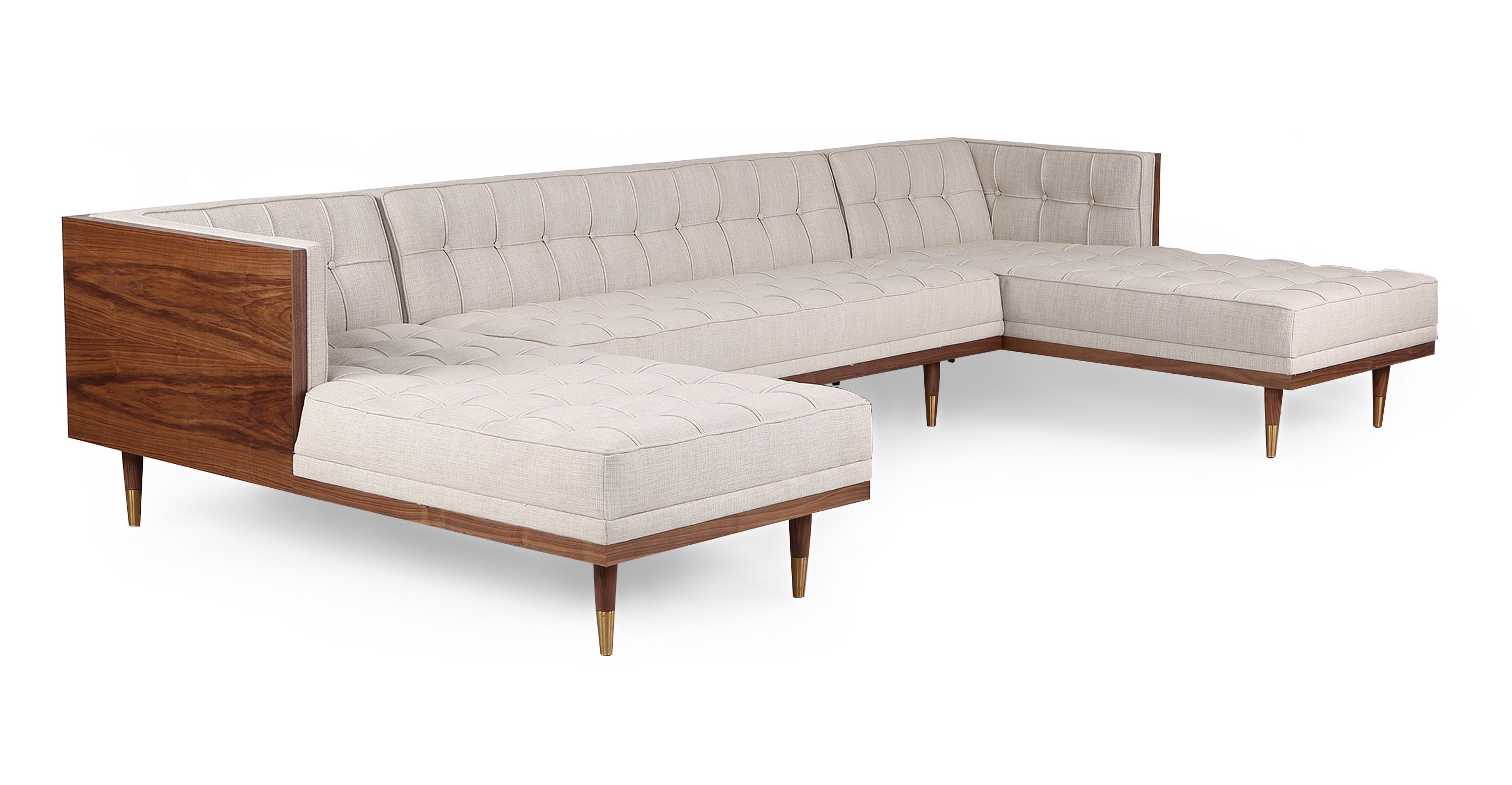 "Woodrow Box 126"" Fabric Sofa U-Sectional, Walnut/Urban Hemp"