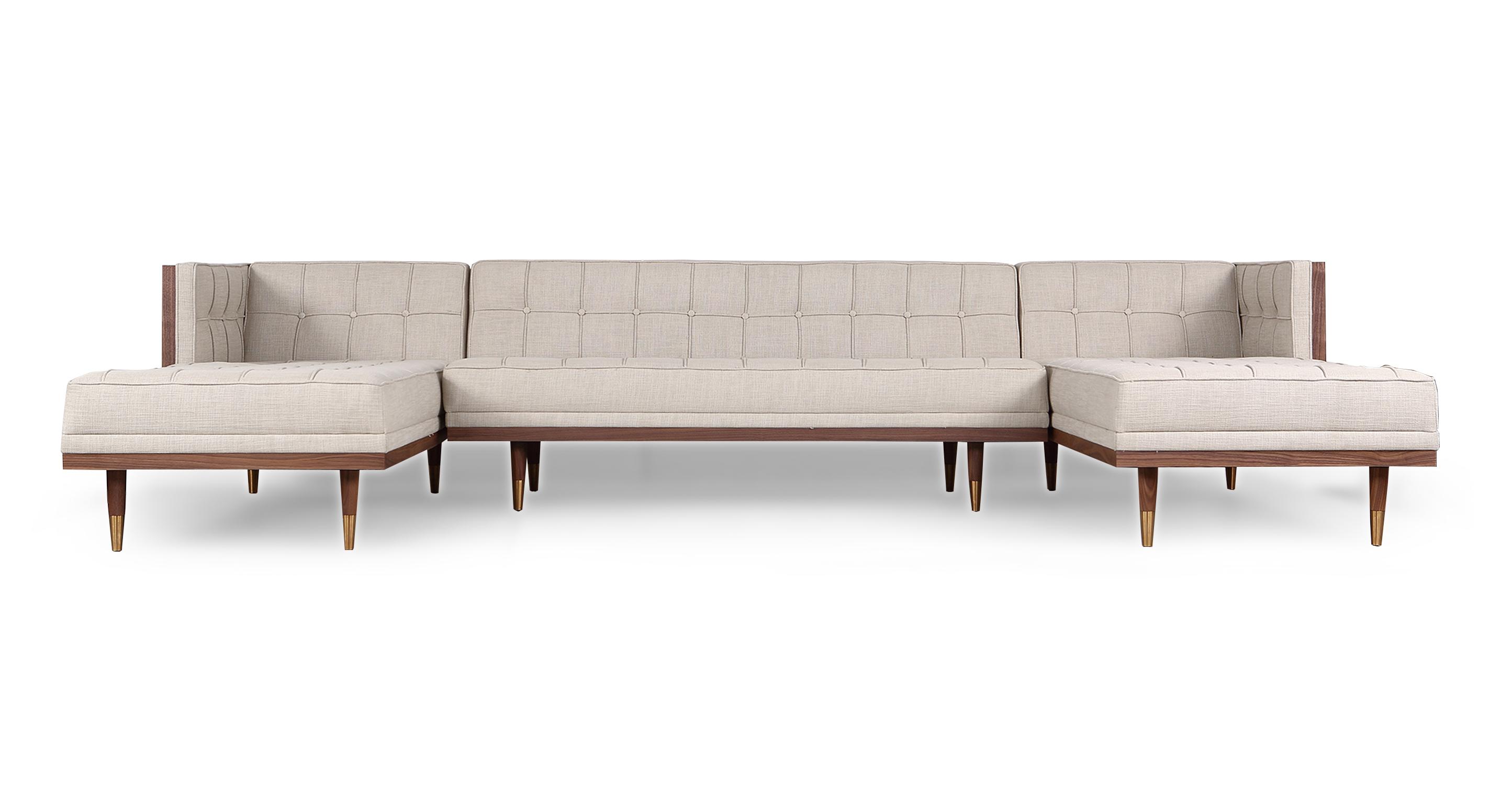 "Woodrow Box 126"" Sofa U-Sectional, Walnut/Urban Hemp"