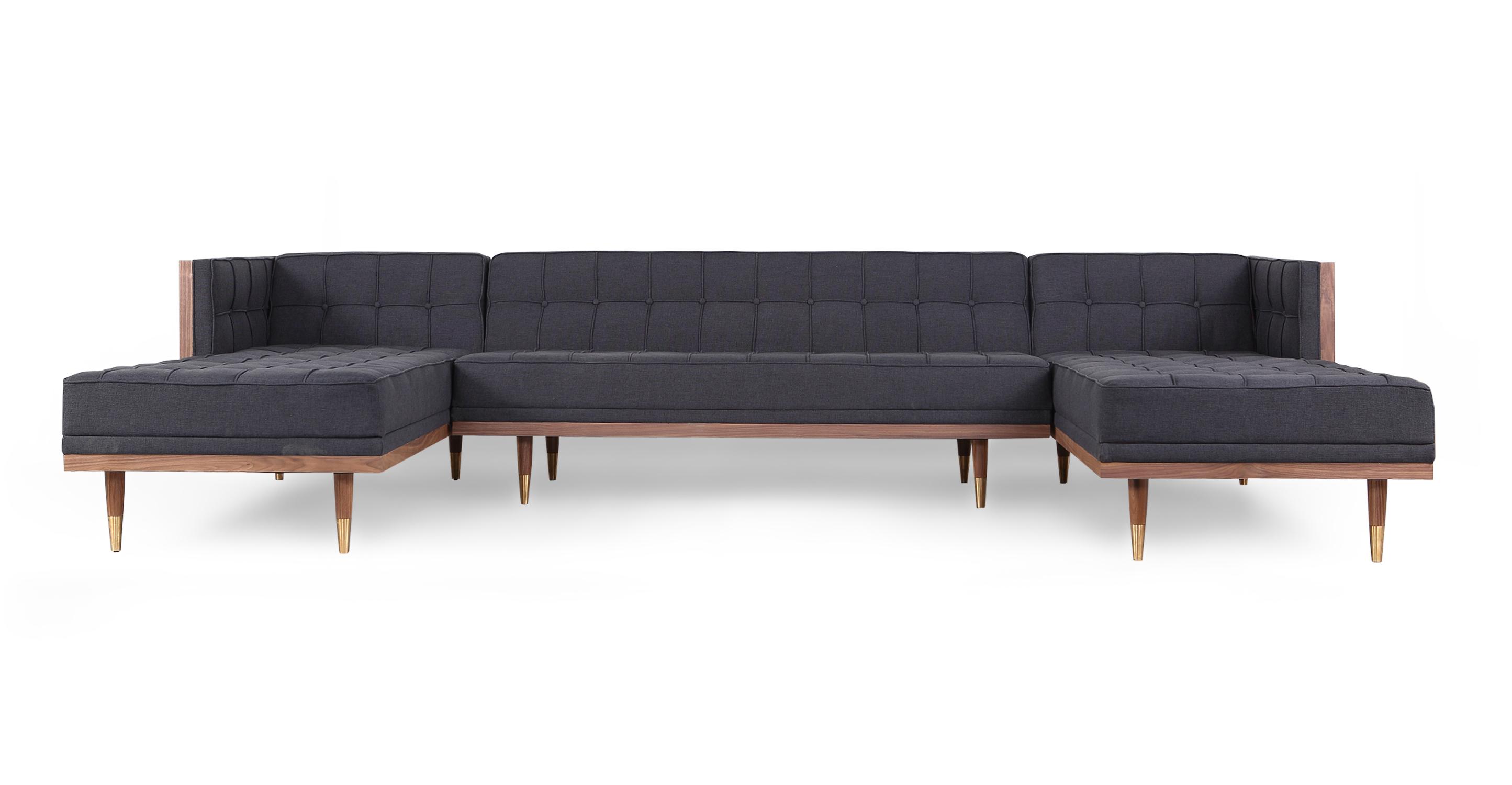 "Woodrow Box 126"" Sofa U-Sectional, Walnut/Urban Ink"