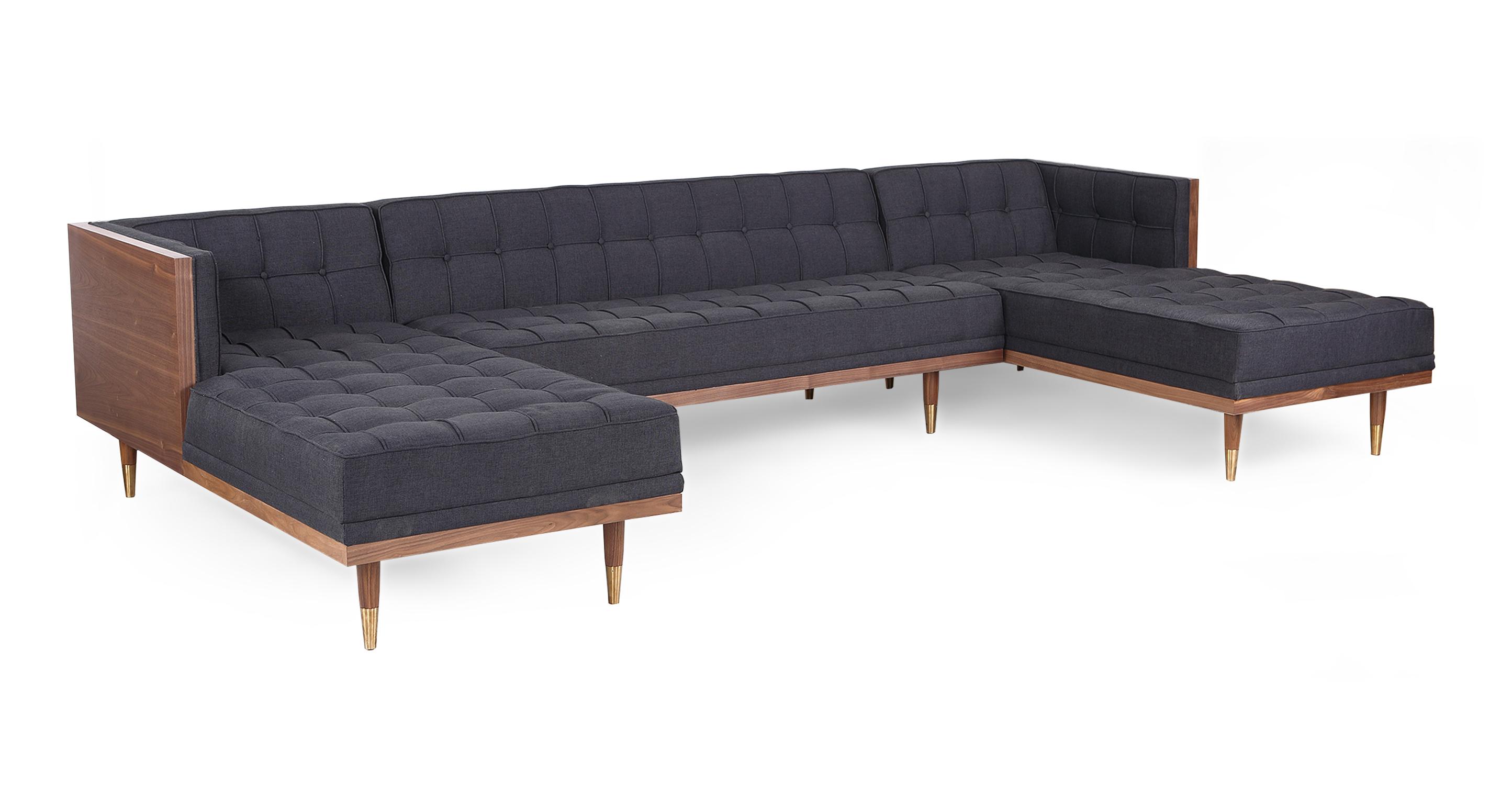 "Woodrow Box 126"" Fabric Sofa U-Sectional, Walnut/Urban Ink"