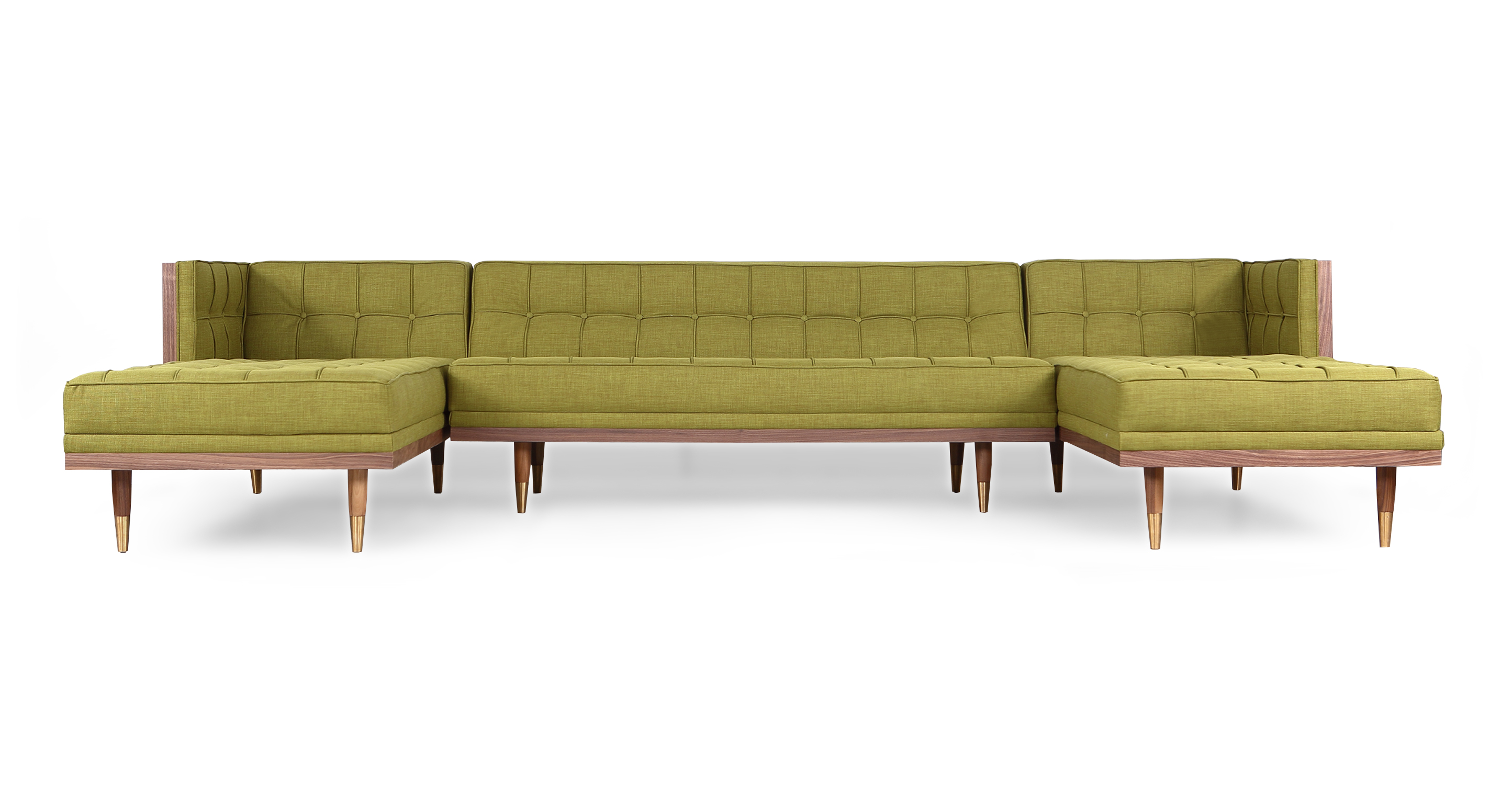 "Woodrow Box 126"" Sofa U-Sectional, Walnut/Atomic Moss"