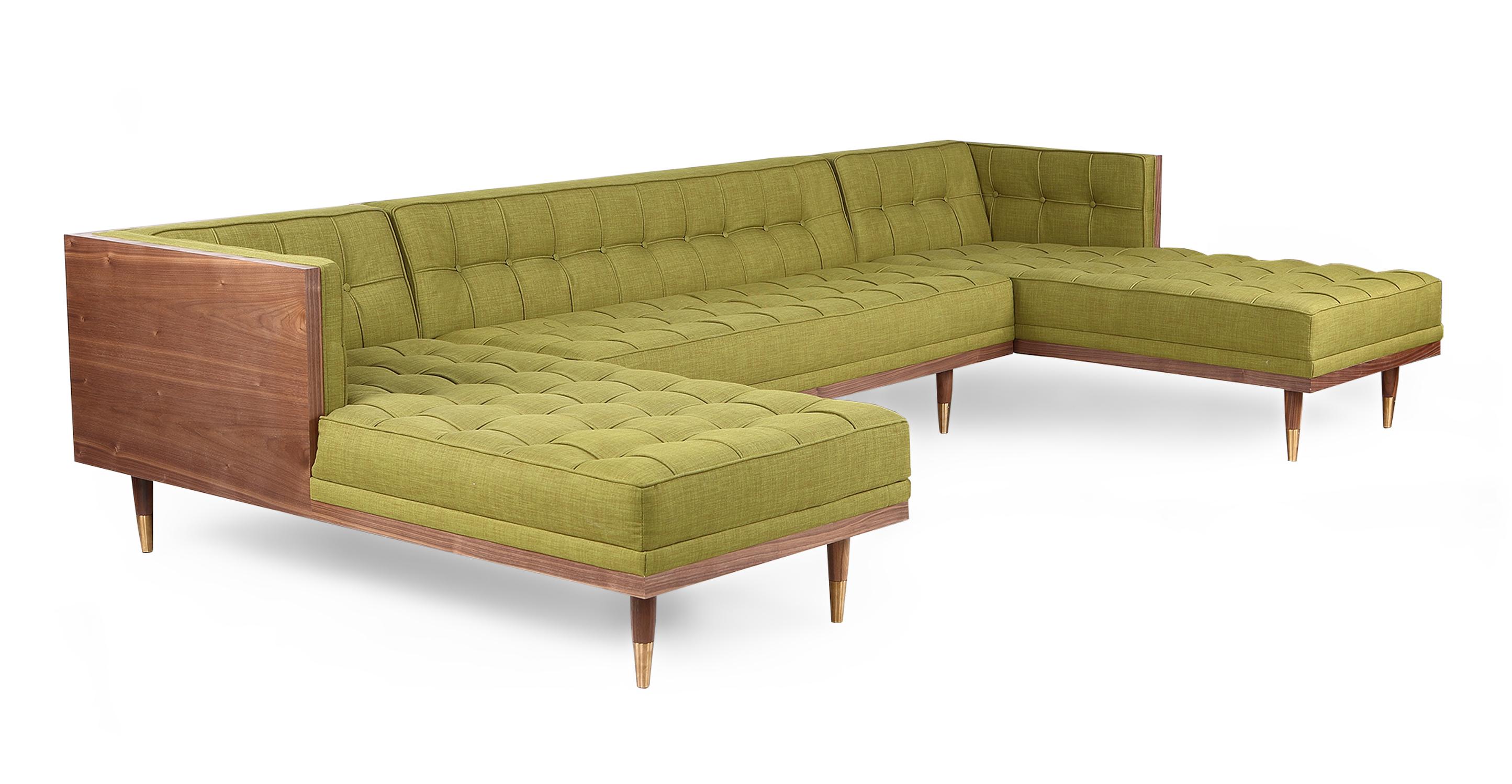 "Woodrow Box 126"" Fabric Sofa U-Sectional, Walnut/Atomic Moss"