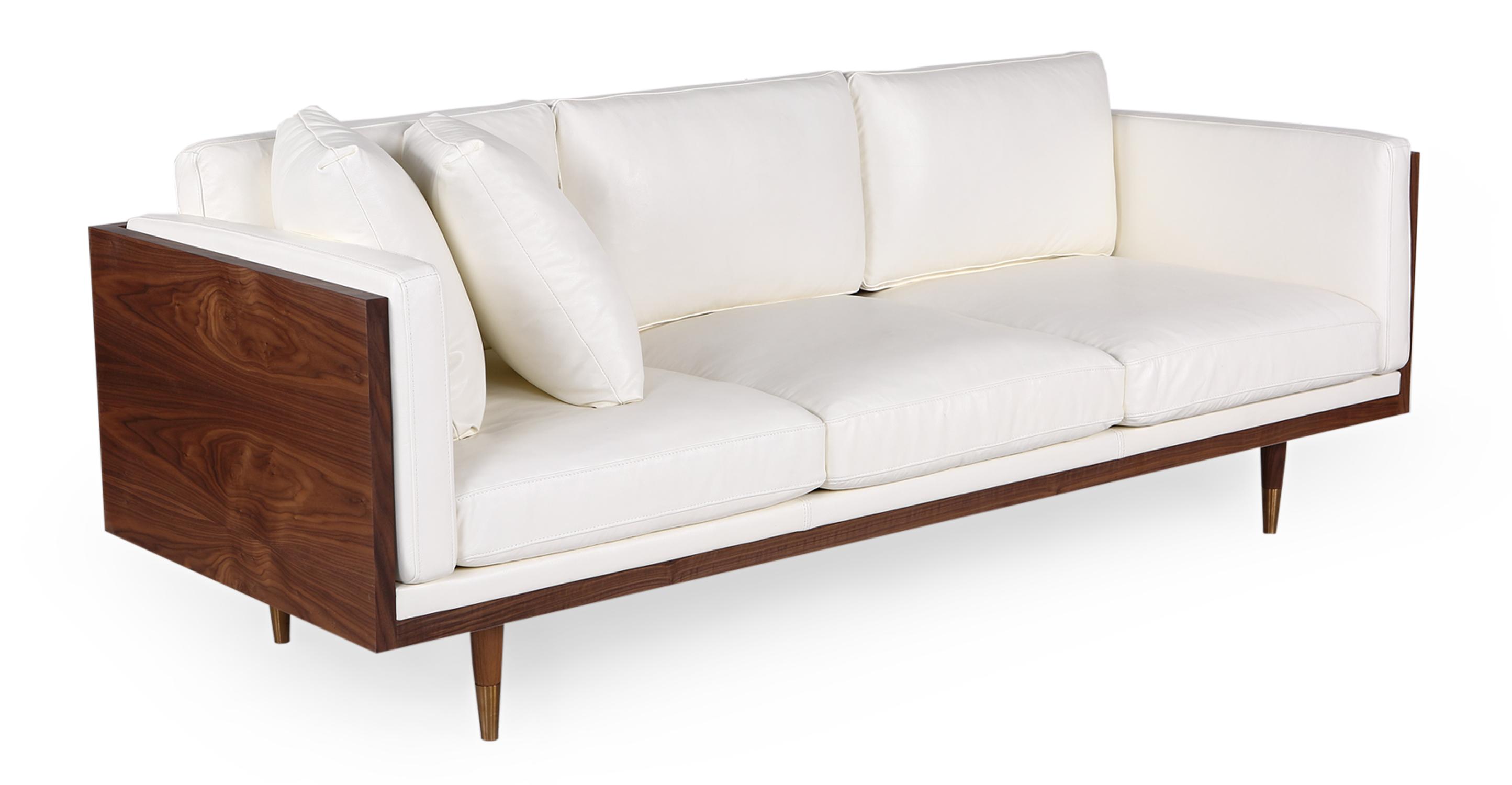"Woodrow Lush 87"" Leather Sofa, Walnut/White Aniline"