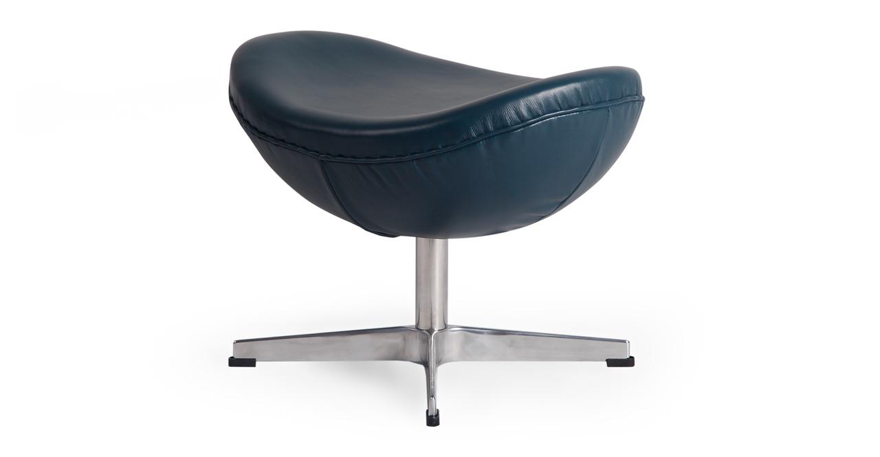 Amoeba Chair & Ottoman, Blue Premium Leather