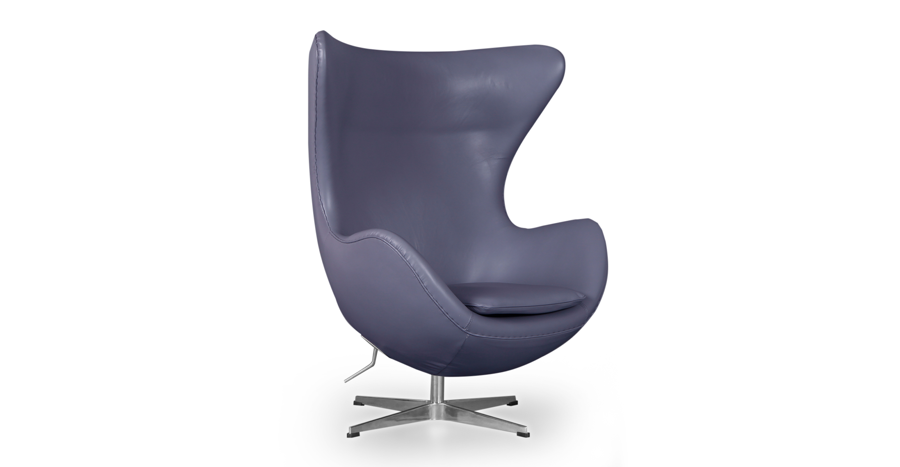 Amoeba Swivel Leather Chair & Ottoman, Seal Grey