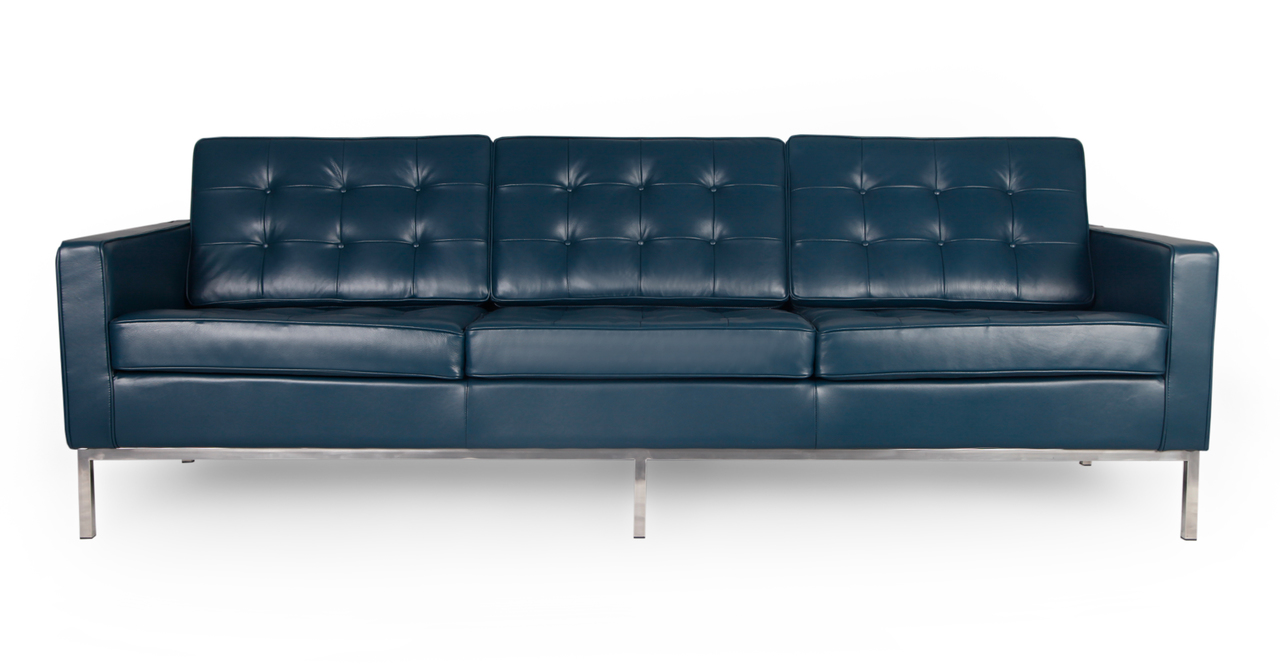 Florence Sofa, Blue Premium Leather