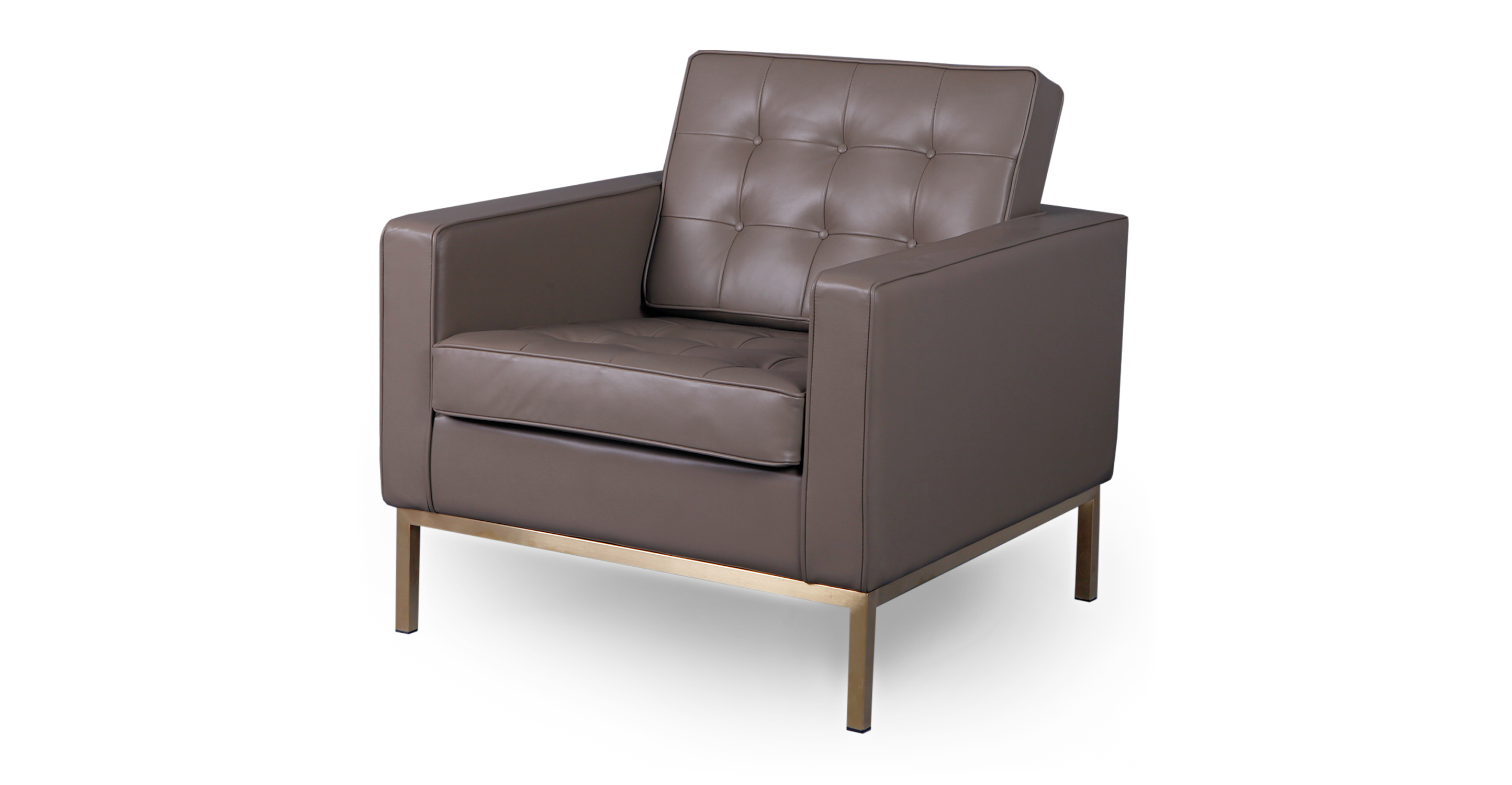 """Florence 32"""" Leather Chair,  Mind Grey Aniline"""