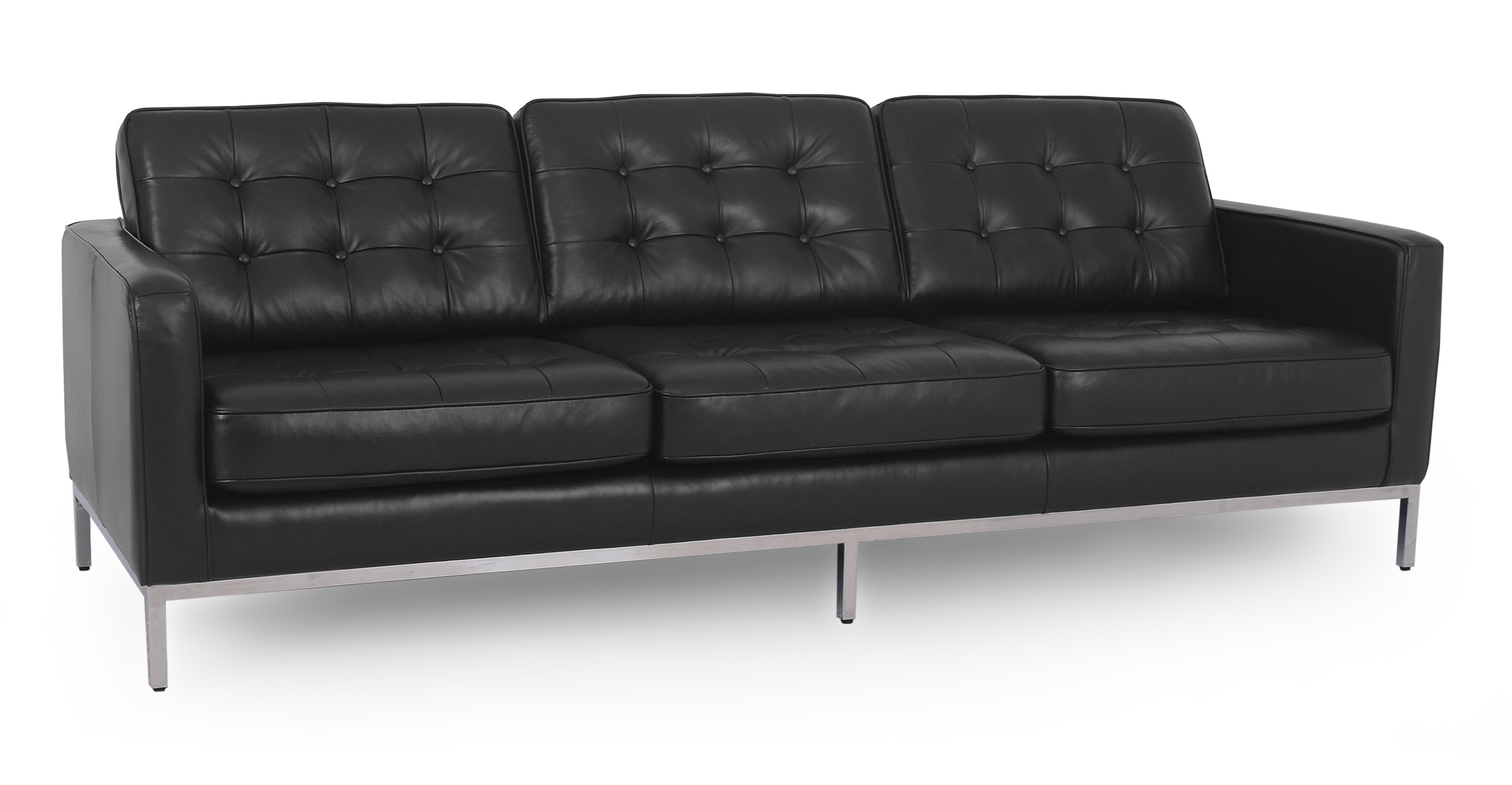 "Florence 89"" Leather Sofa, Black"