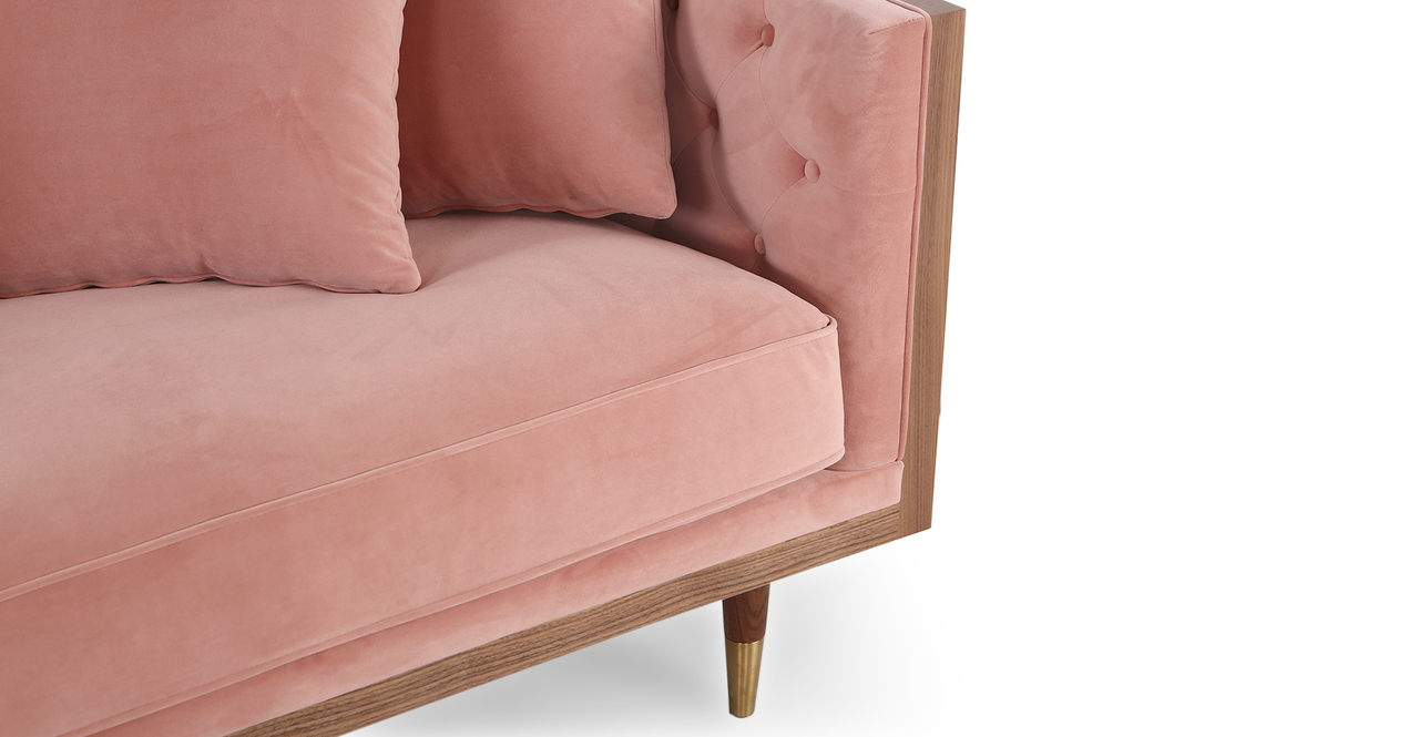 "Woodrow Neo 87"" Fabric Sofa, Walnut/Blush Velvet"