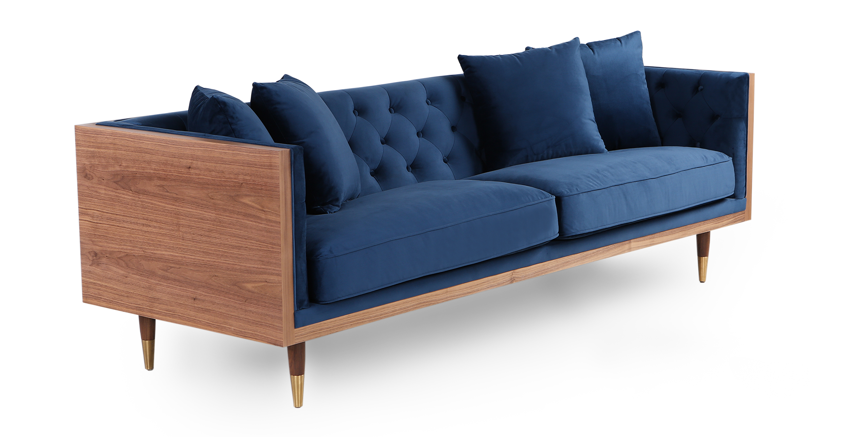 "Woodrow Neo 87"" Fabric Sofa, Walnut/Persian Velvet"