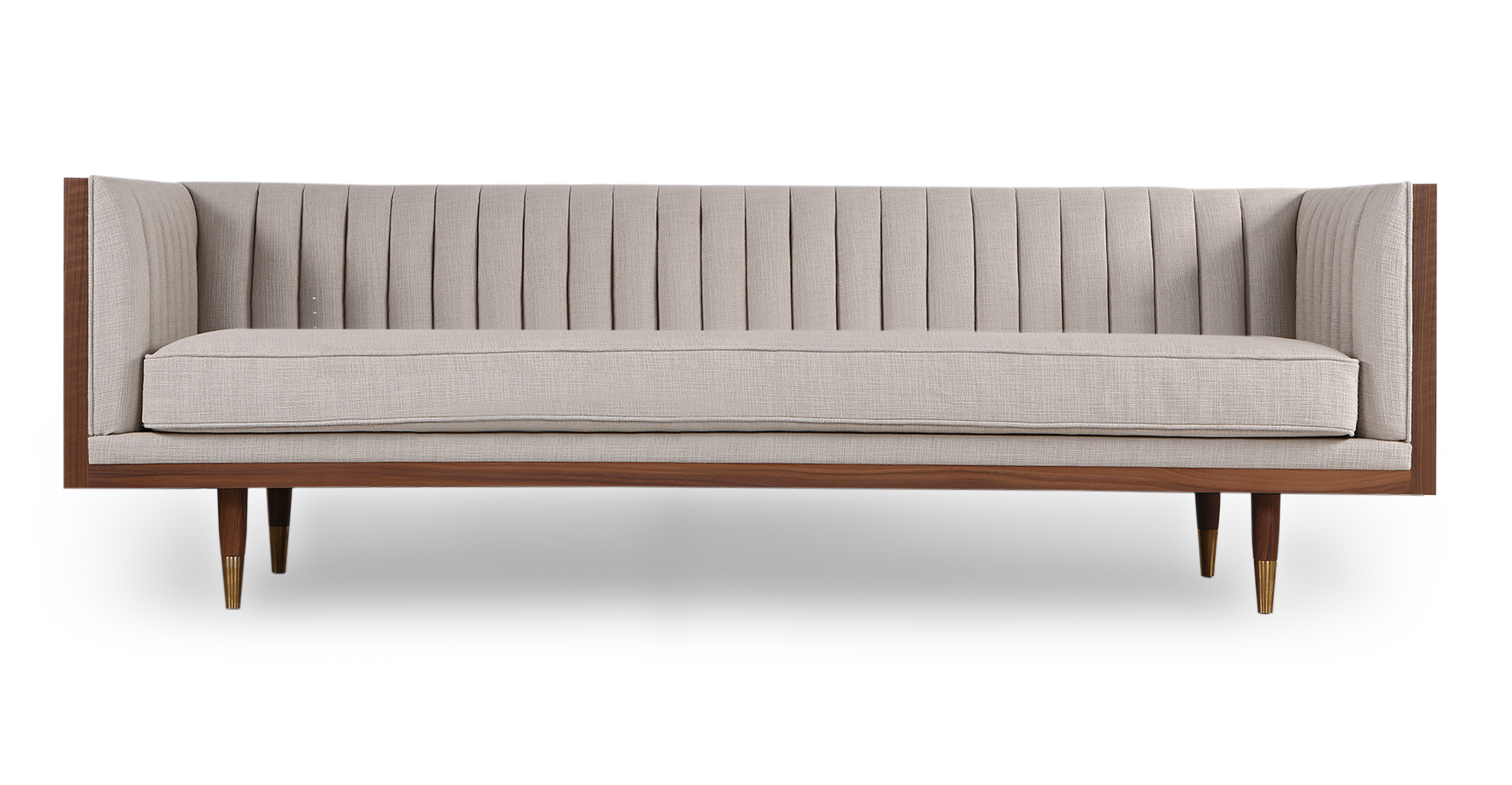 "Woodrow Linea 87"" Fabric Sofa, Walnut/Urban Hemp"