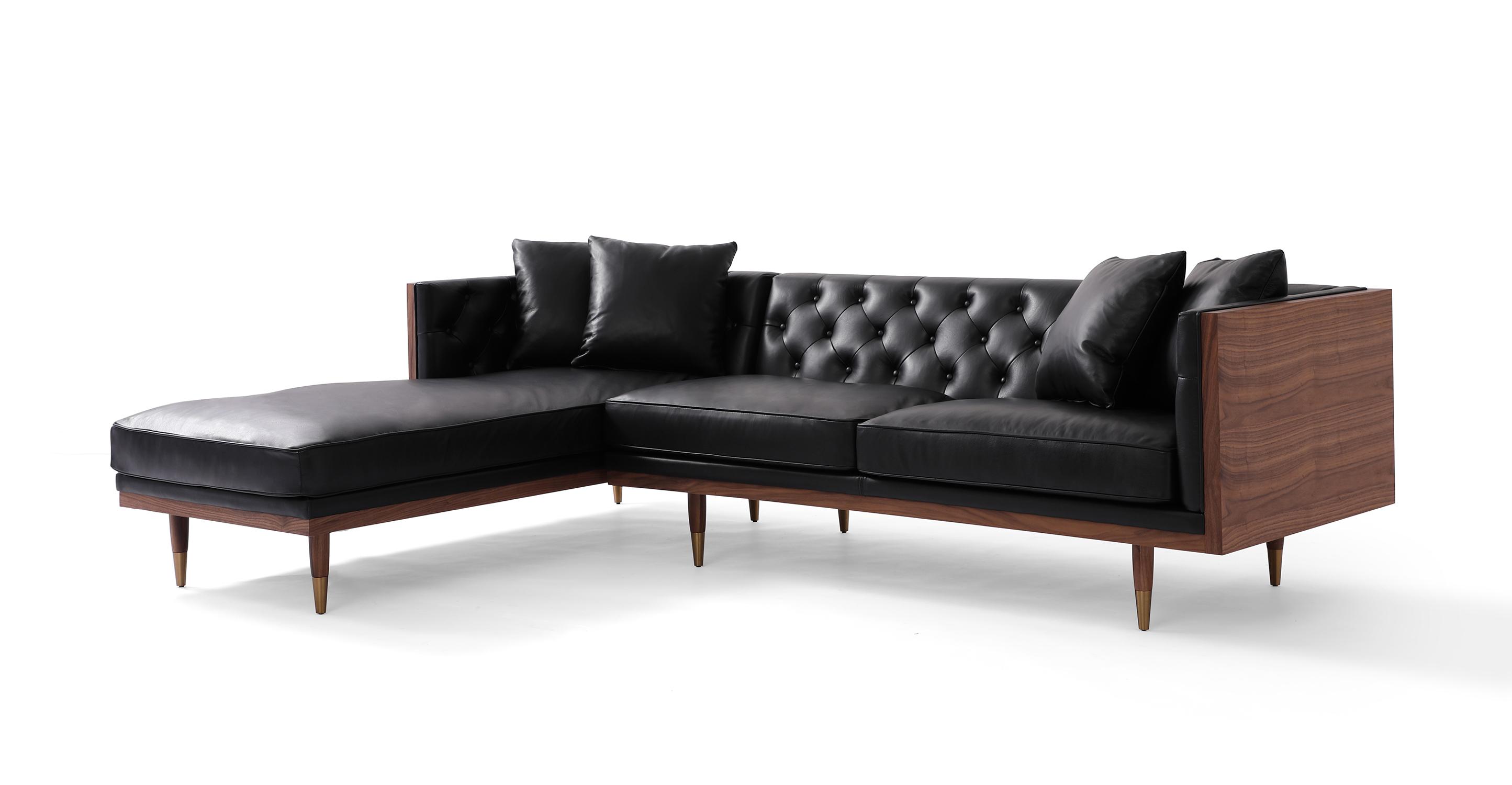 "Woodrow Neo 99"" Leather Sofa Sectional Left, Walnut/Black Aniline"