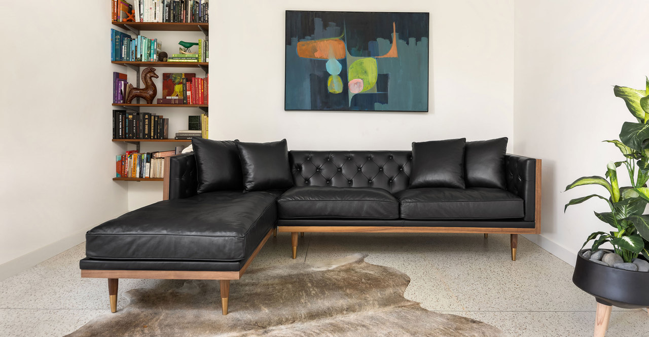 "Woodrow Neo 99"" Sofa Sectional Left, Walnut/Black Aniline"