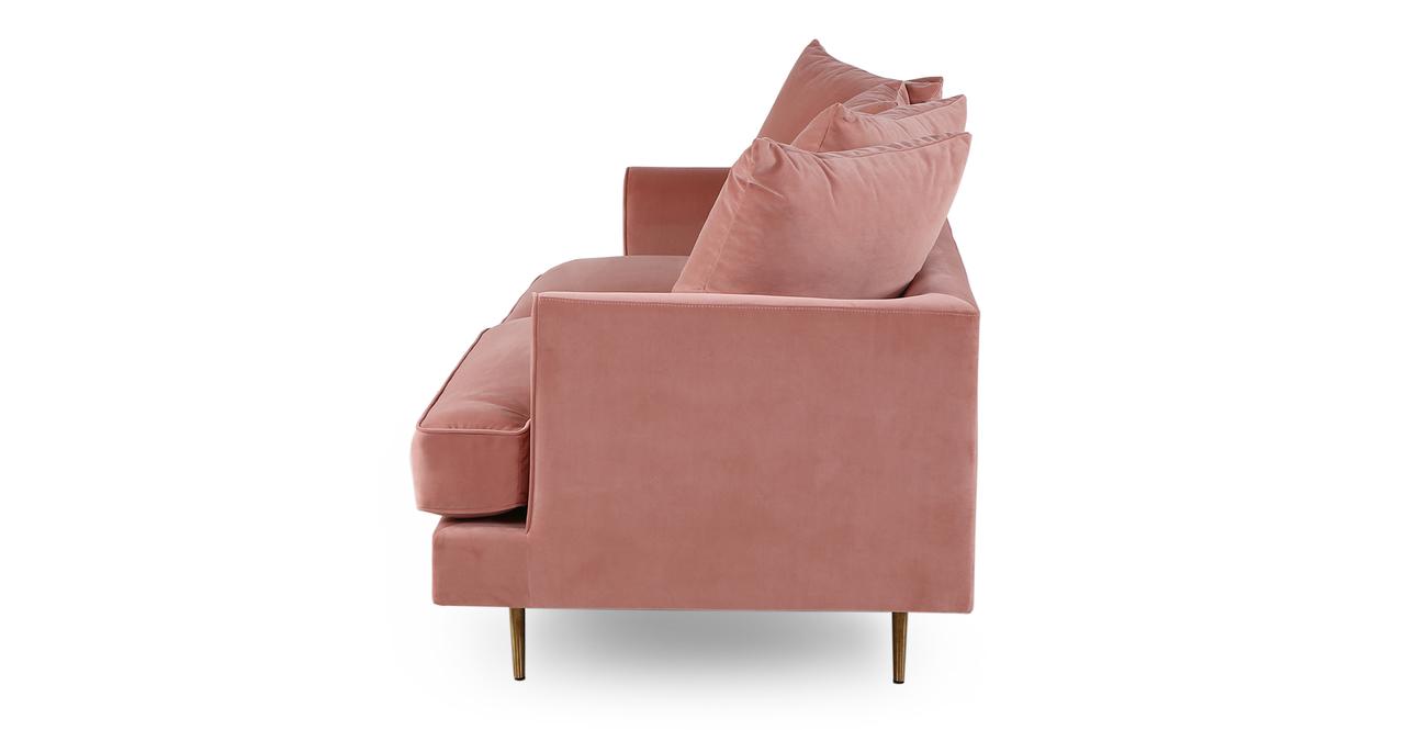"Holly 82"" Fabric Sofa, Blush Velvet"