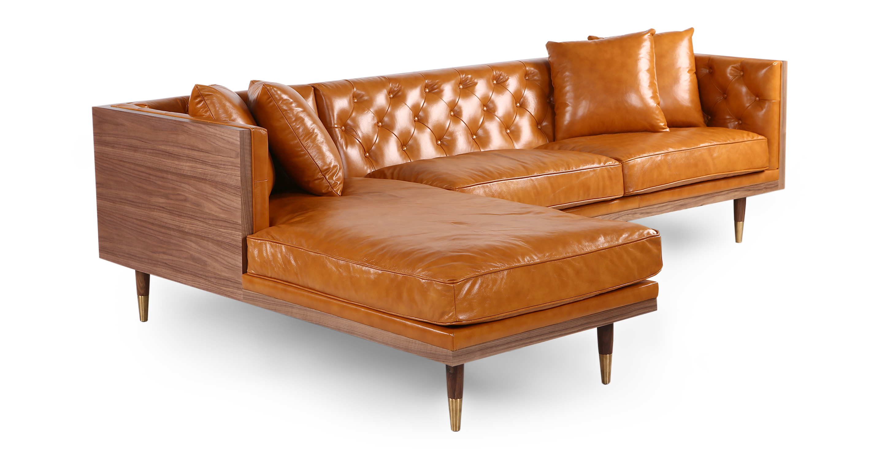 "Woodrow Neo 99"" Leather Sofa Sectional Left, Walnut/Tan Aniline"