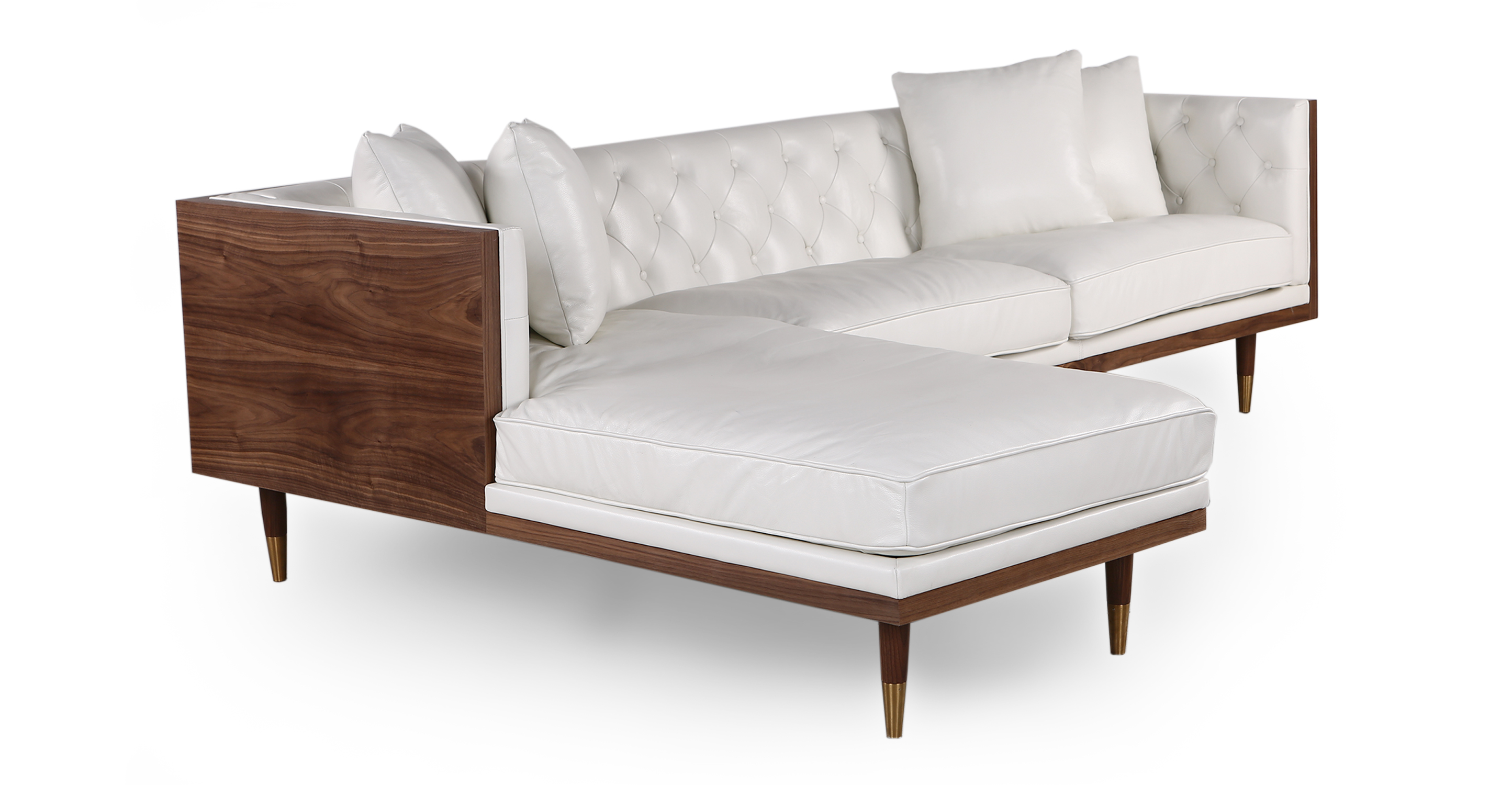 "Woodrow Neo 99"" Leather Sofa Sectional Left, Walnut/White Aniline"