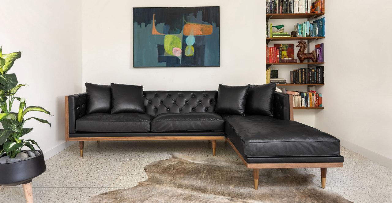 "Woodrow Neo 99"" Sofa Sectional Right, Walnut/Black Aniline"
