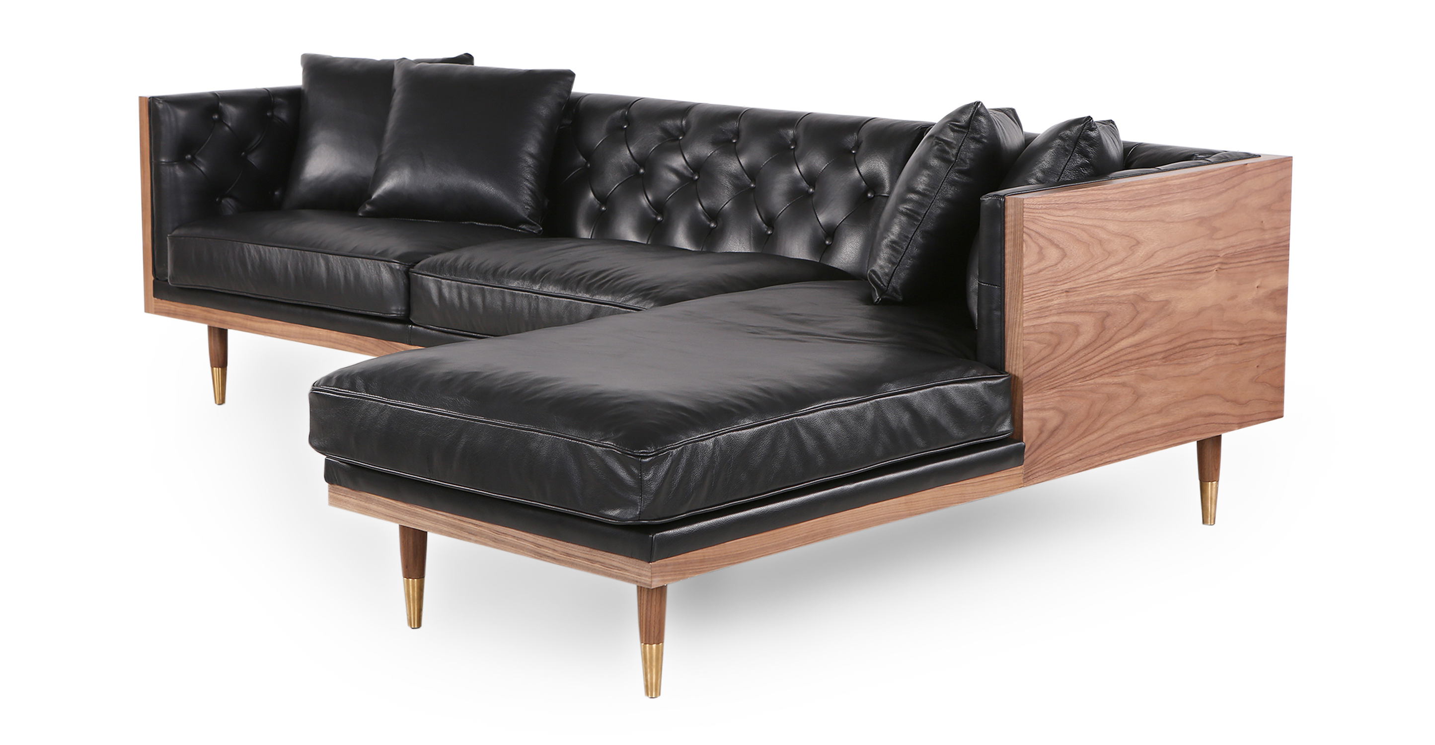 "Woodrow Neo 99"" Leather Sofa Sectional Right, Walnut/Black Aniline"
