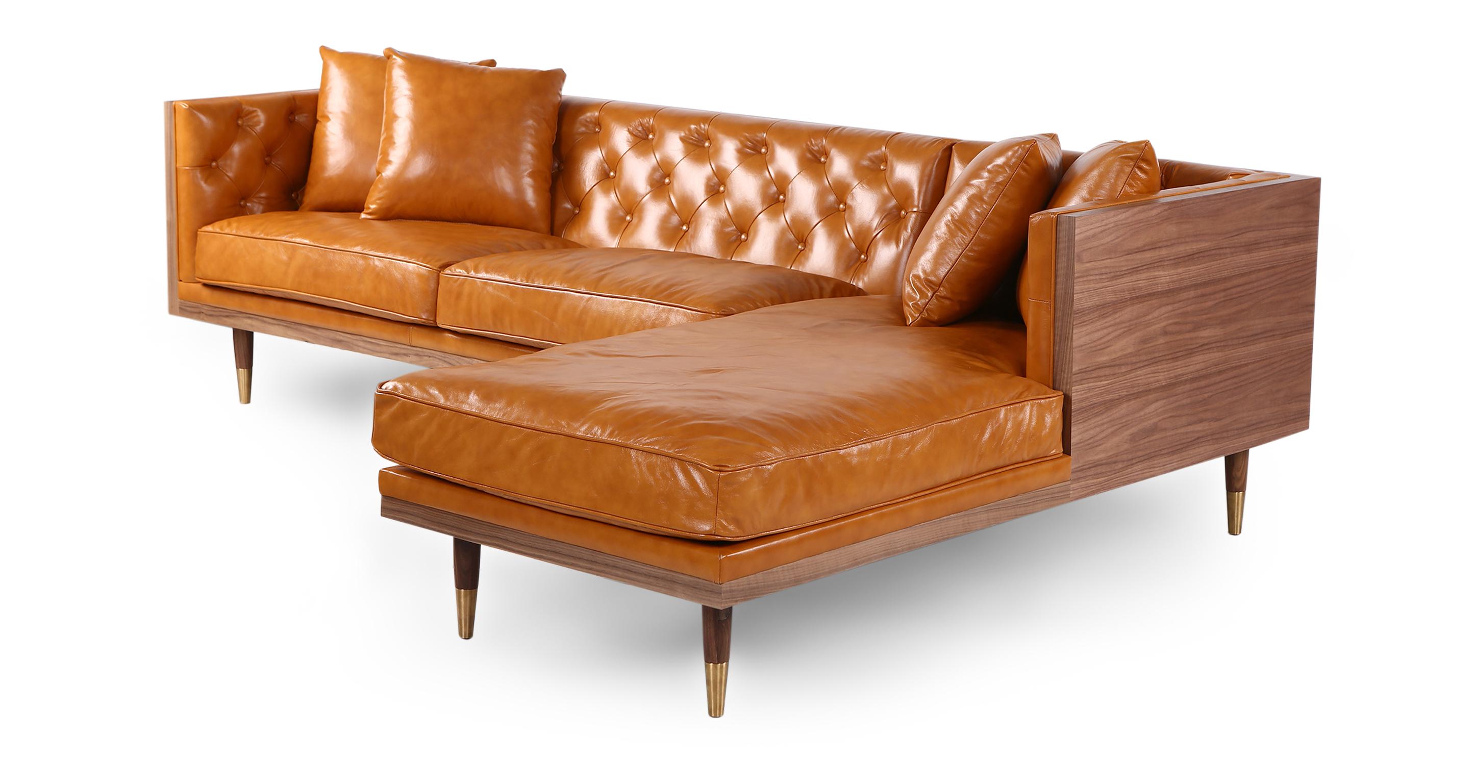"Woodrow Neo 99"" Leather Sofa Sectional Right, Walnut/Tan Aniline"