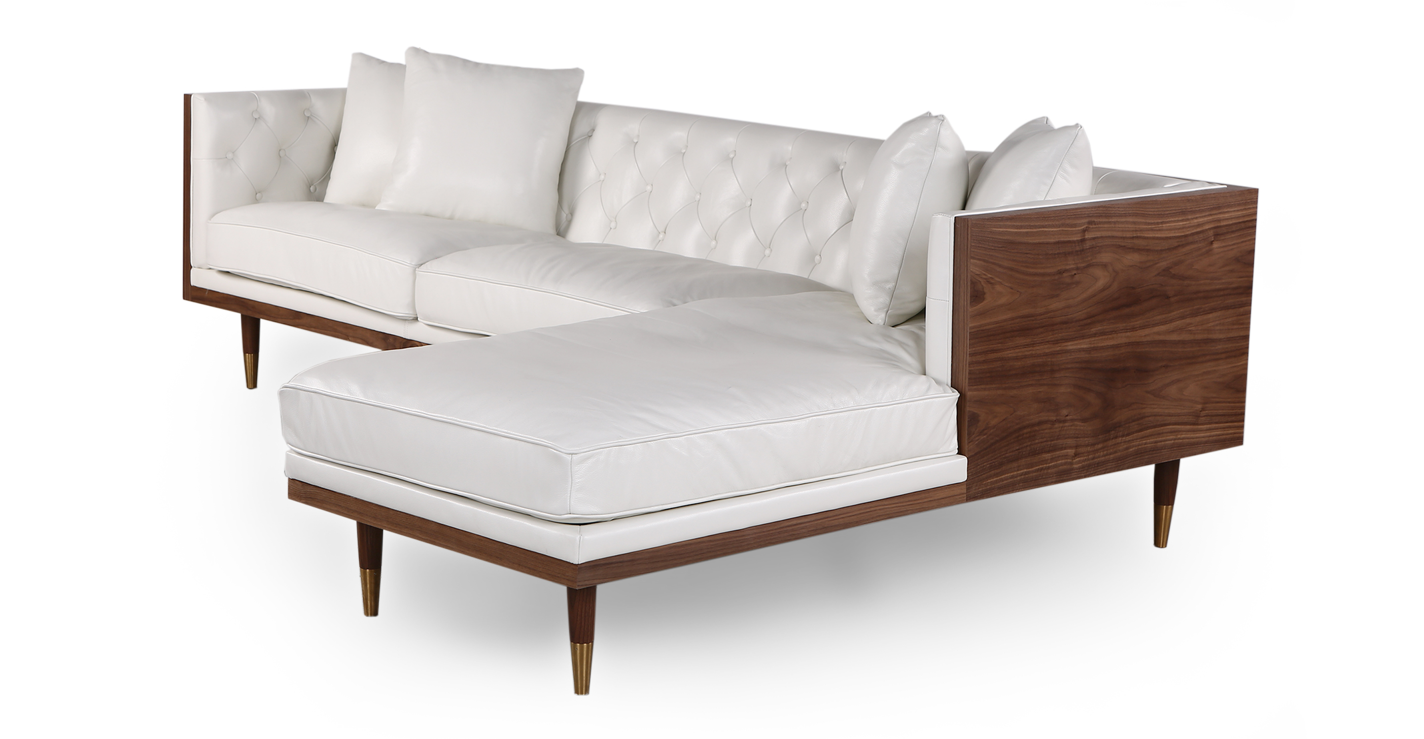 "Woodrow Neo 99"" Leather Sofa Sectional Right, Walnut/White Aniline"