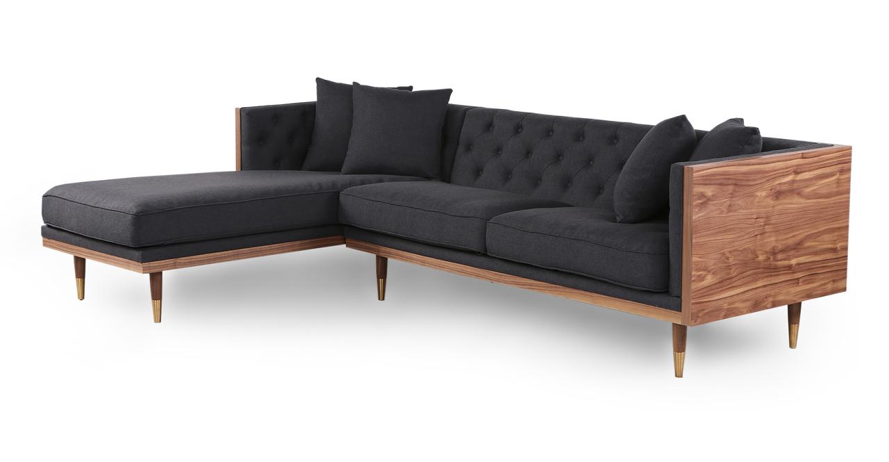 "Woodrow Neo 99"" Sofa Sectional Left, Walnut/Urban Ink"
