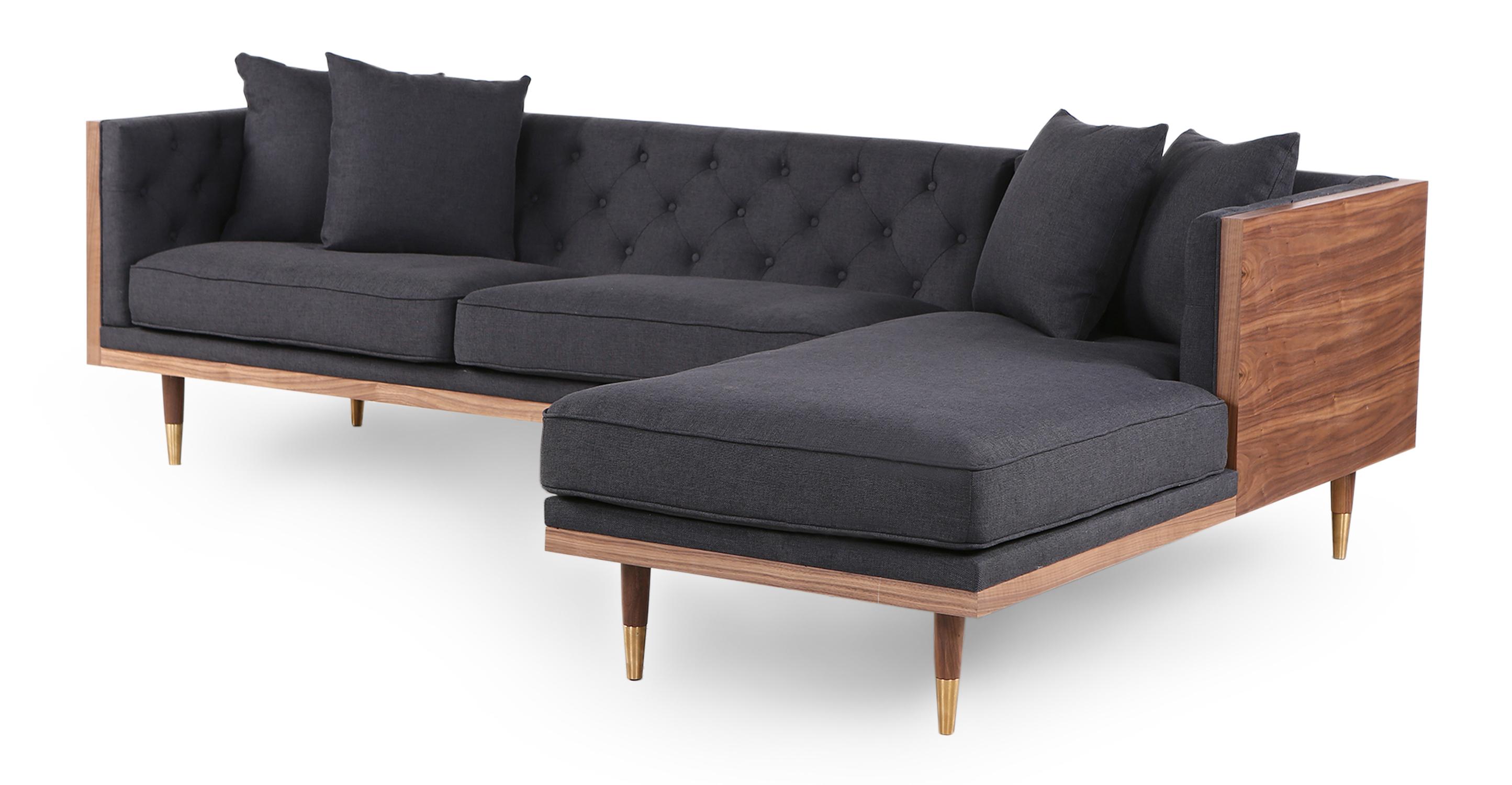 "Woodrow Neo 99"" Fabric Sofa Sectional Right, Walnut/Urban Ink"