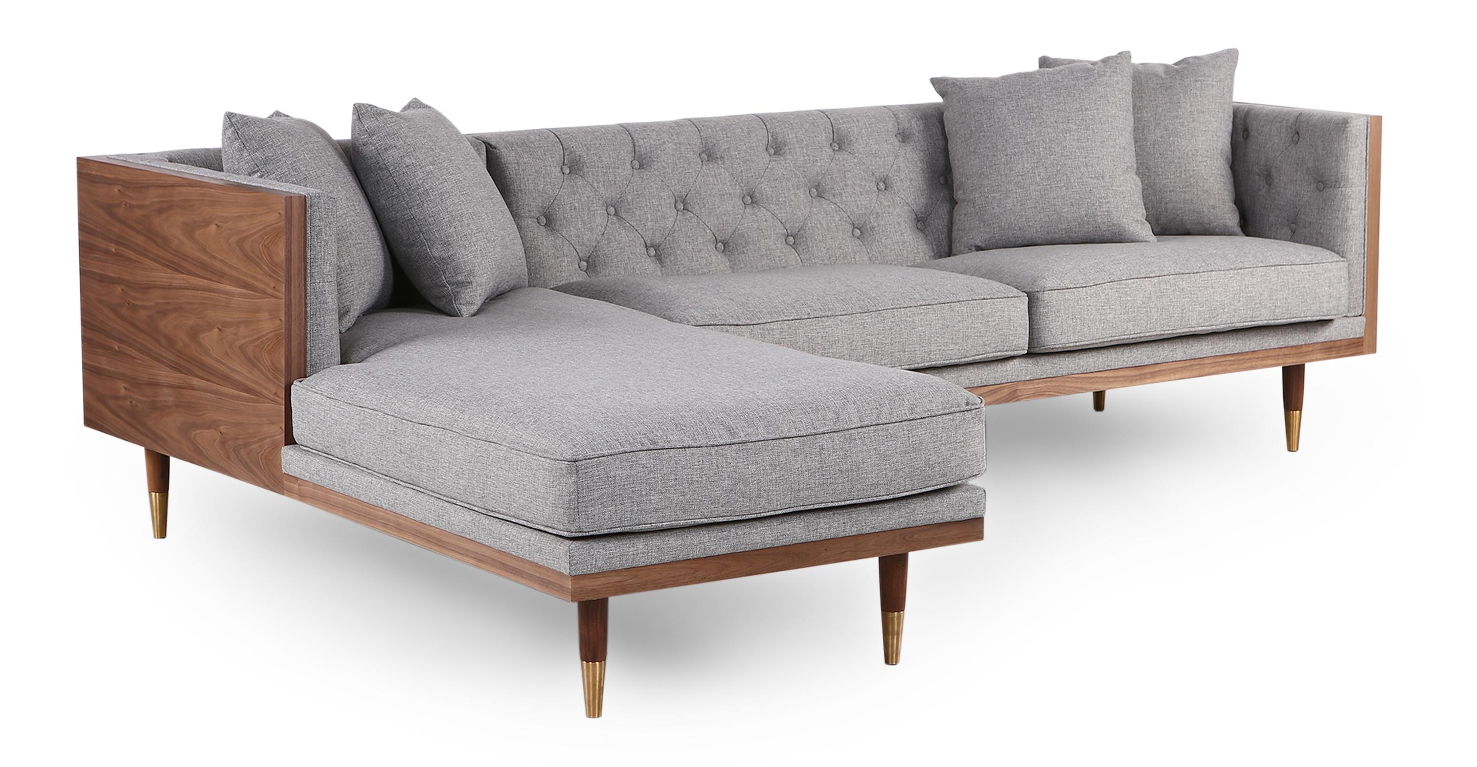 "Woodrow Neo 99"" Fabric Sofa Sectional Left, Walnut/Eames Grey"