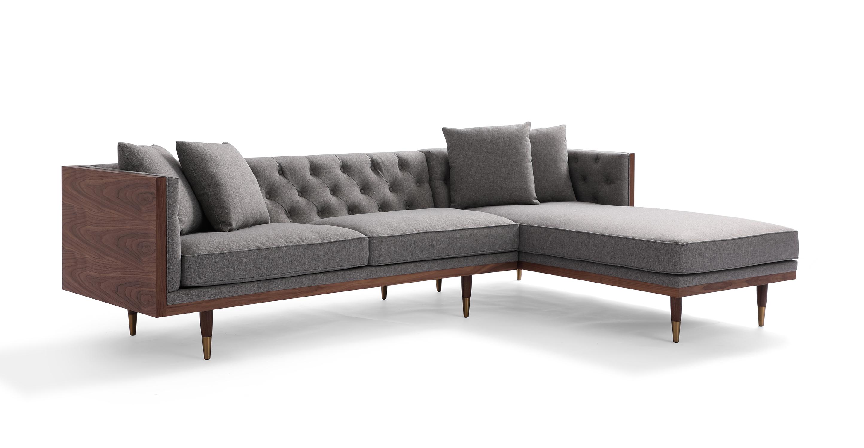 "Woodrow Neo 99"" Fabric Sofa Sectional Right, Walnut/Eames Grey"