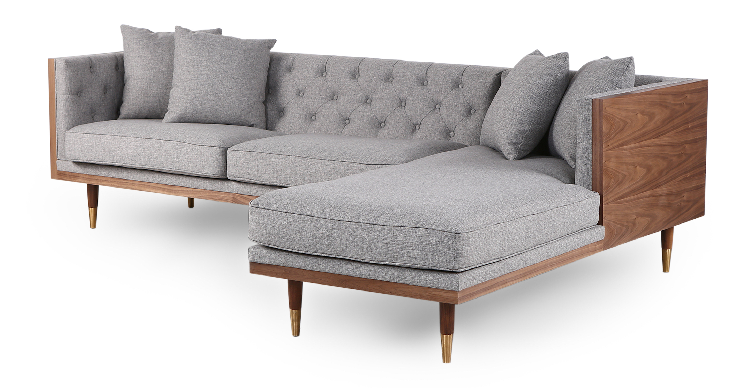 "Woodrow Neo 99"" Sofa Sectional Right, Walnut/Eames Grey"