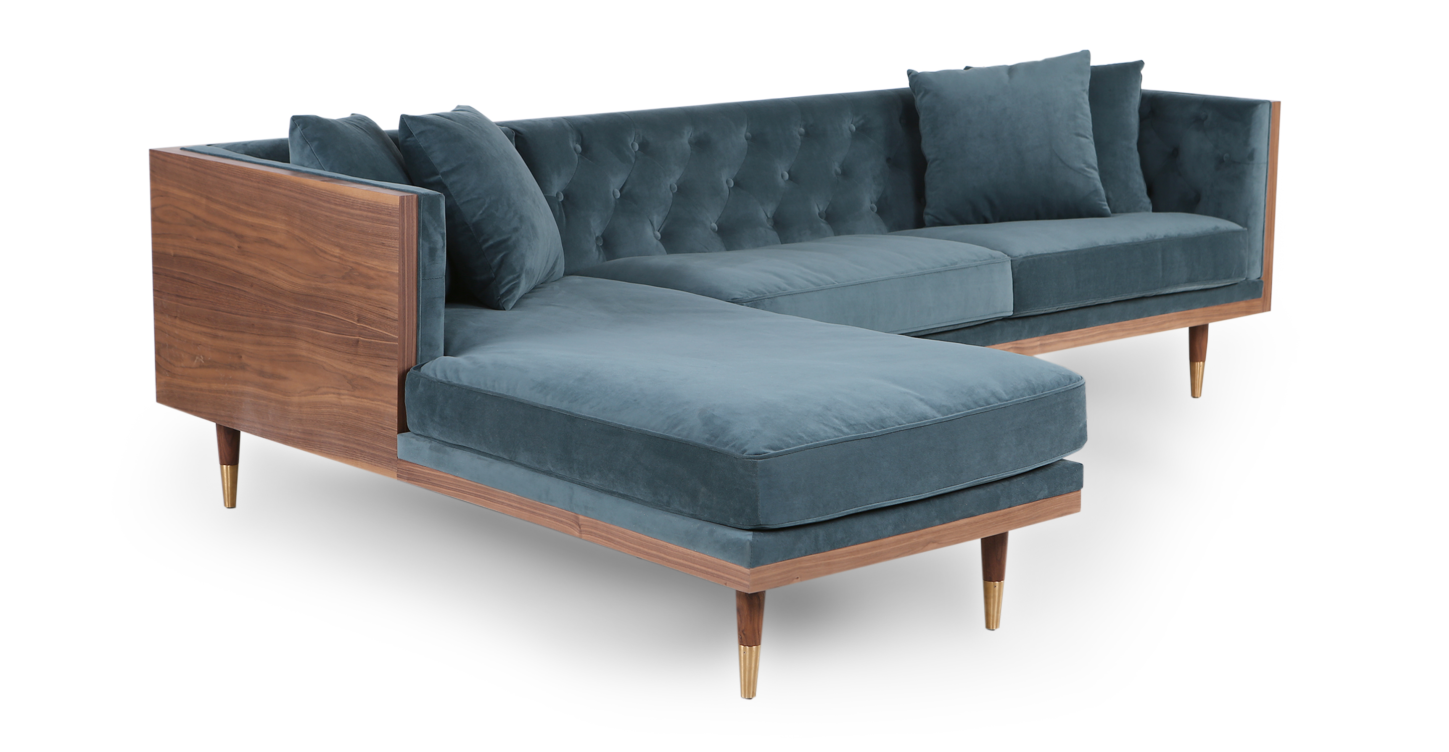 "Woodrow Neo 99"" Fabric Sofa Sectional Left, Walnut/Neptune Velvet"