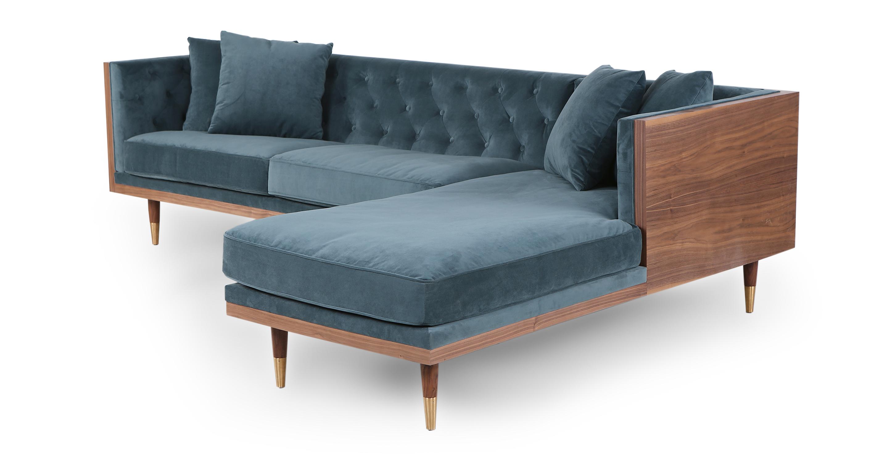 "Woodrow Neo 99"" Fabric Sofa Sectional Right, Walnut/Neptune Velvet"