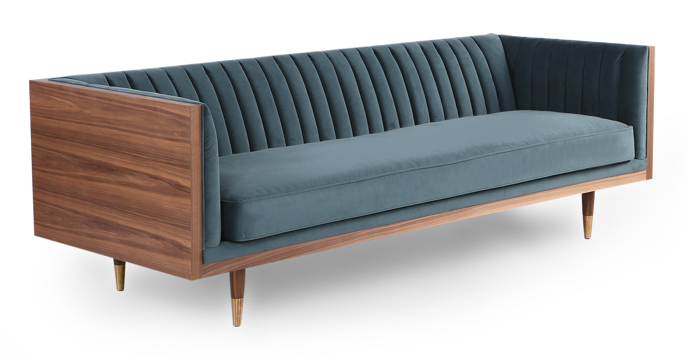 "Woodrow Linea 87"" Fabric Sofa, Walnut/Neptune Velvet"