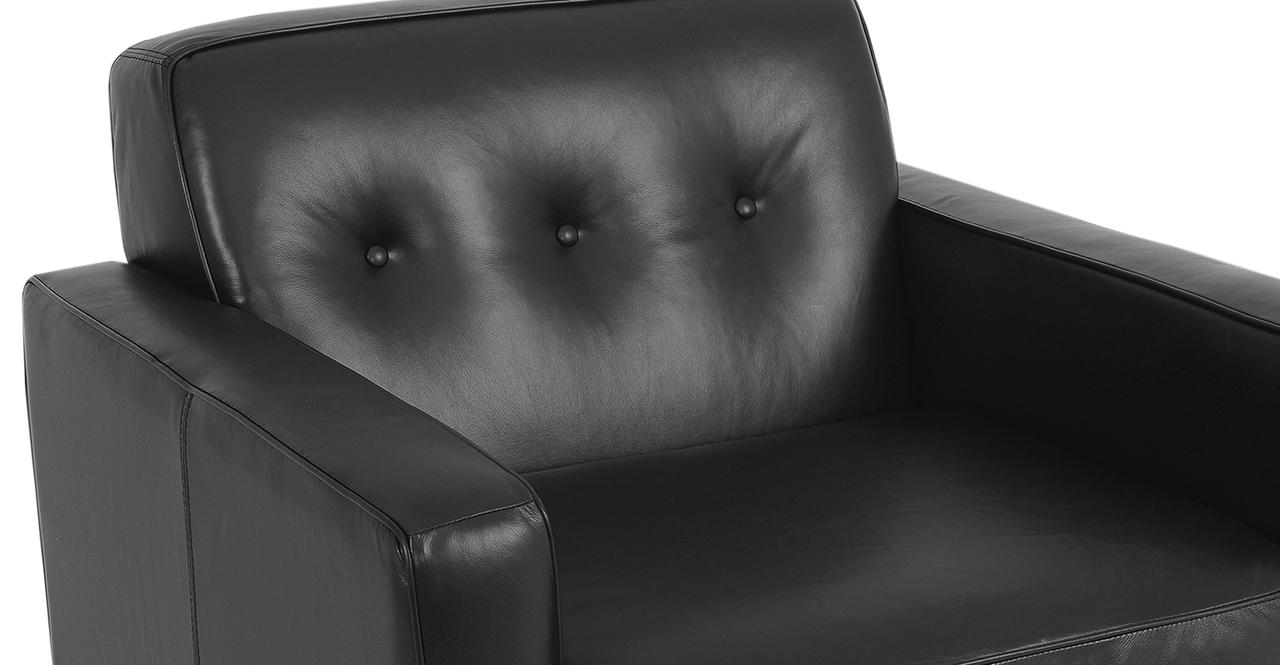 "Eleanor 35"" Leather Chair,  Black Top Grain Aniline"