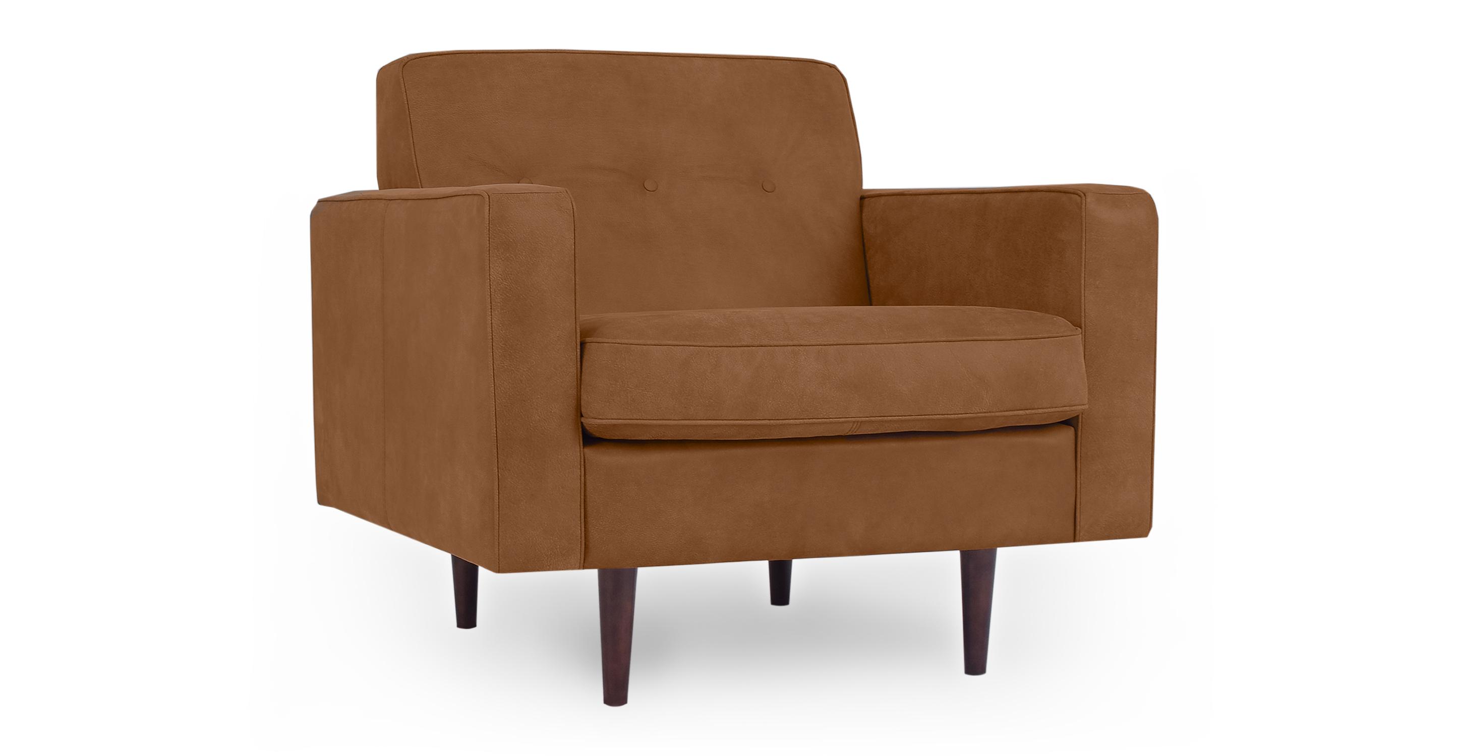 "Eleanor 35"" Leather Chair, Pecan"