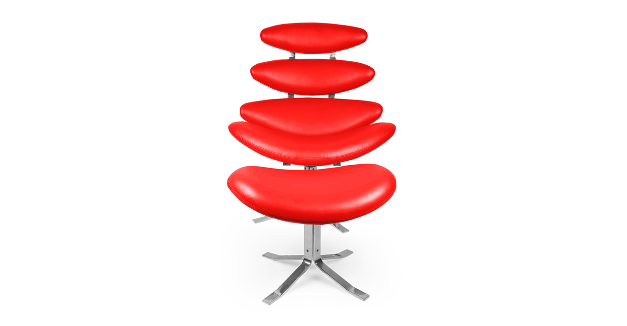 Apollo Leather Chair & Ottoman, Red