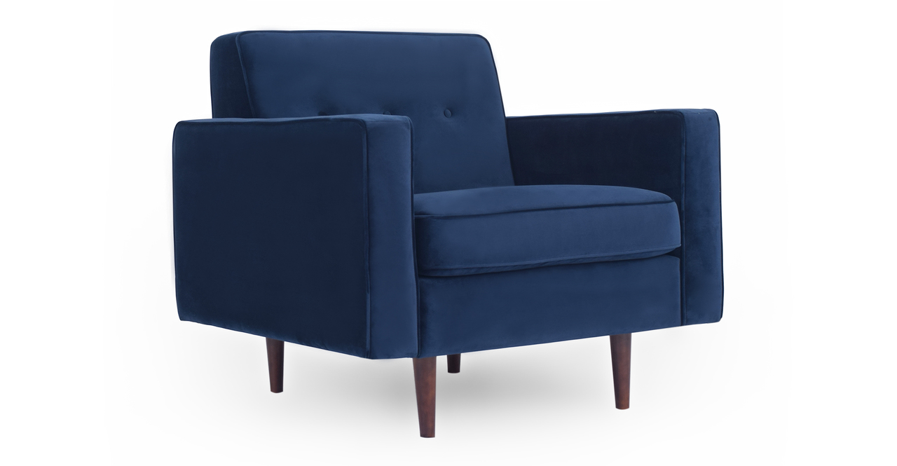 "Eleanor 35"" Fabric Chair, Royal Blue Velvet"