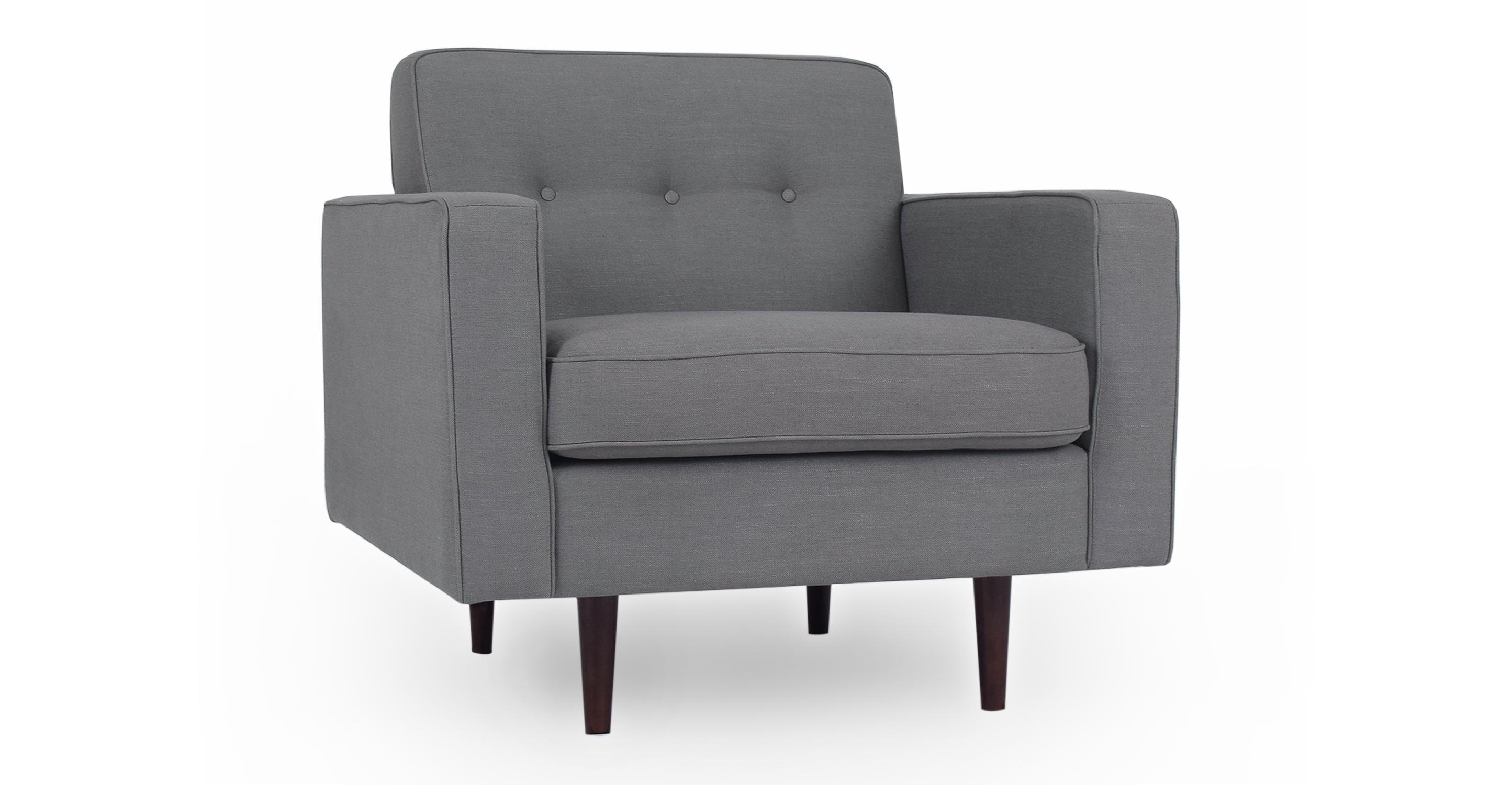 "Eleanor 35"" Fabric Chair, Gun Metal"