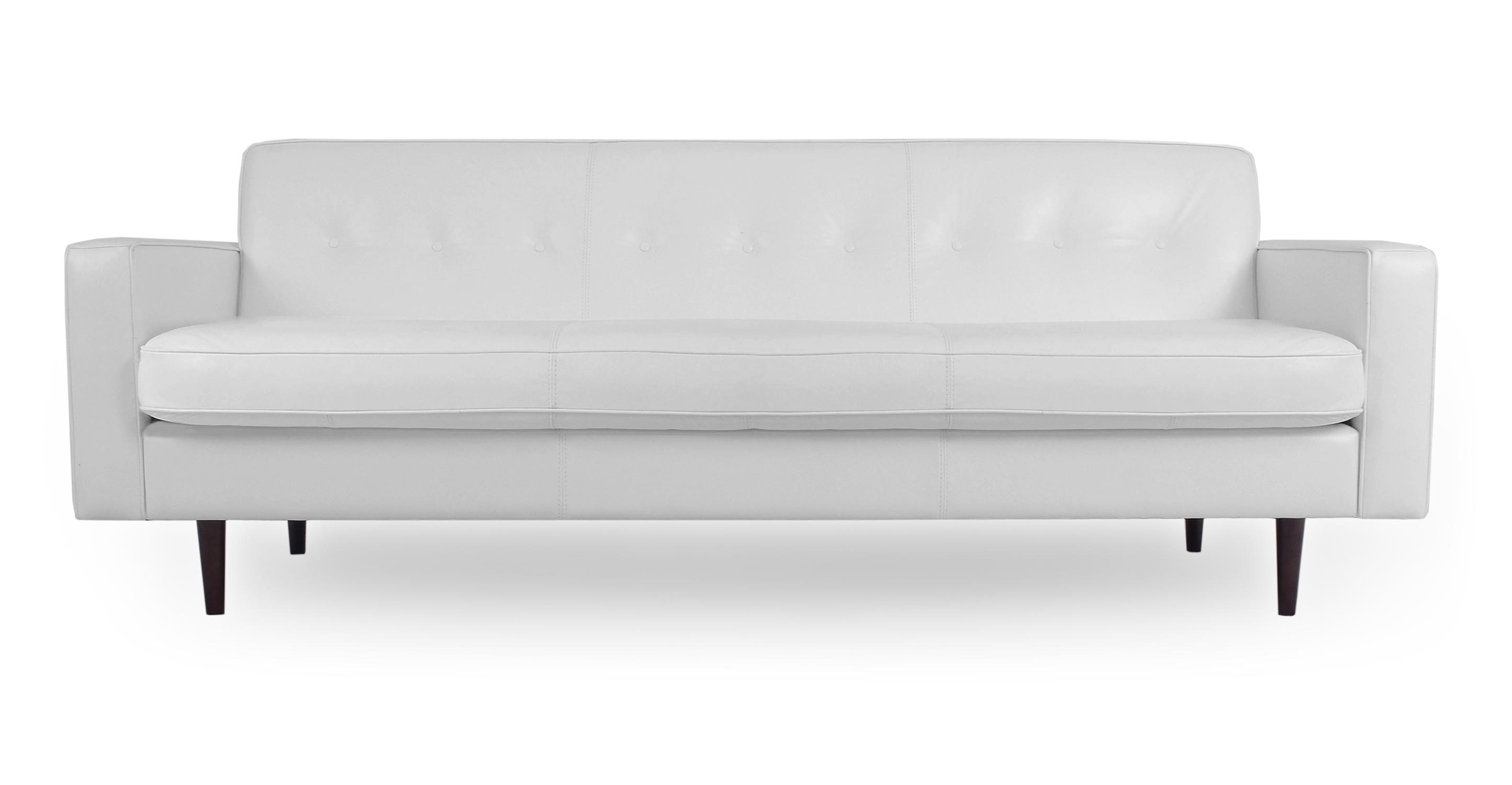 """Eleanor 85"""" Leather Sofa, White"""