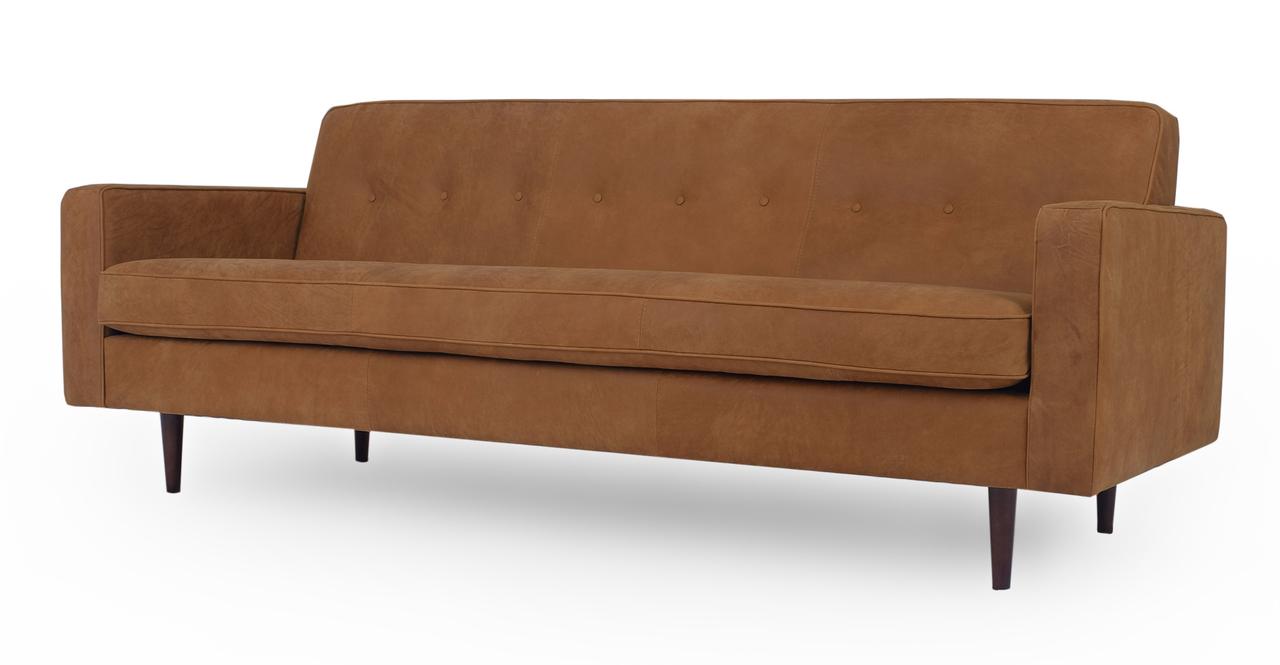 "Eleanor 85"" Leather Sofa, Pecan Full Aniline"