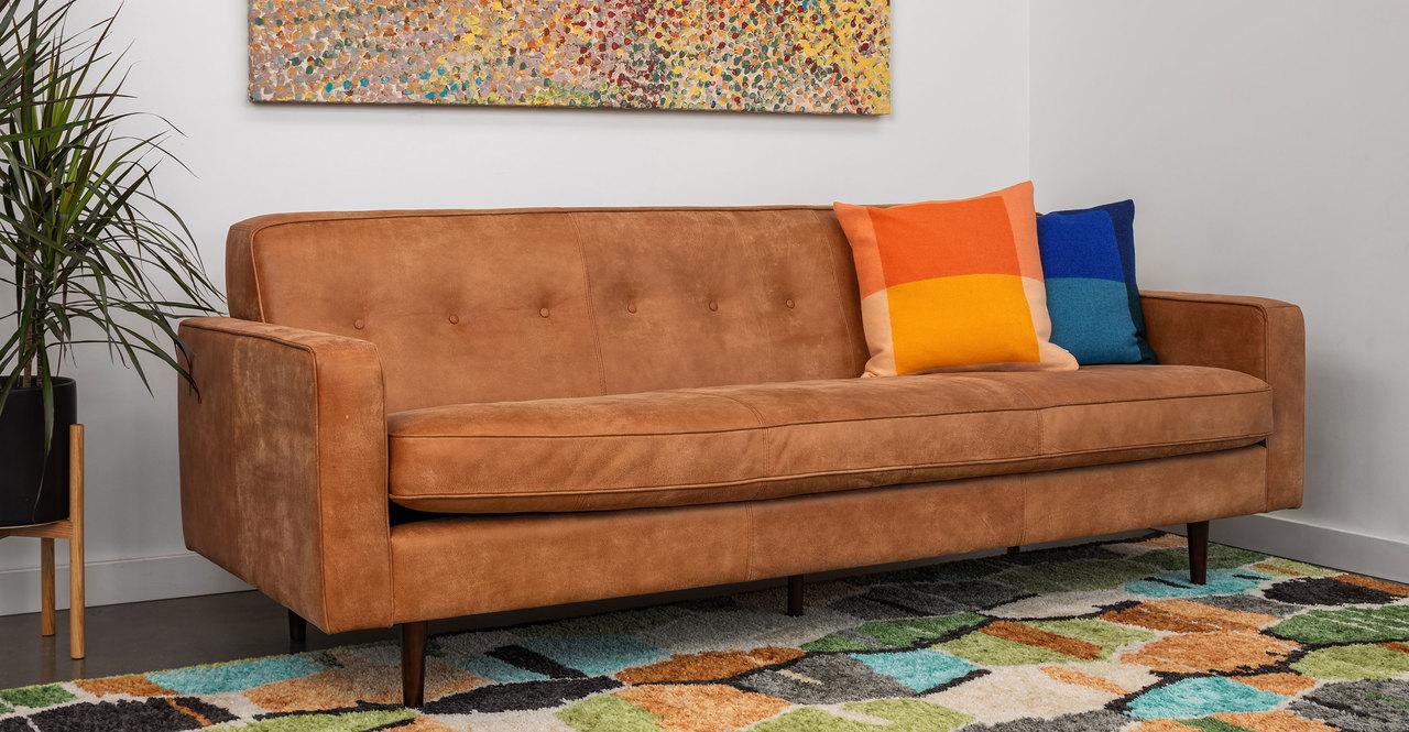 "Eleanor 85"" Leather Sofa, Cognac Full Aniline"