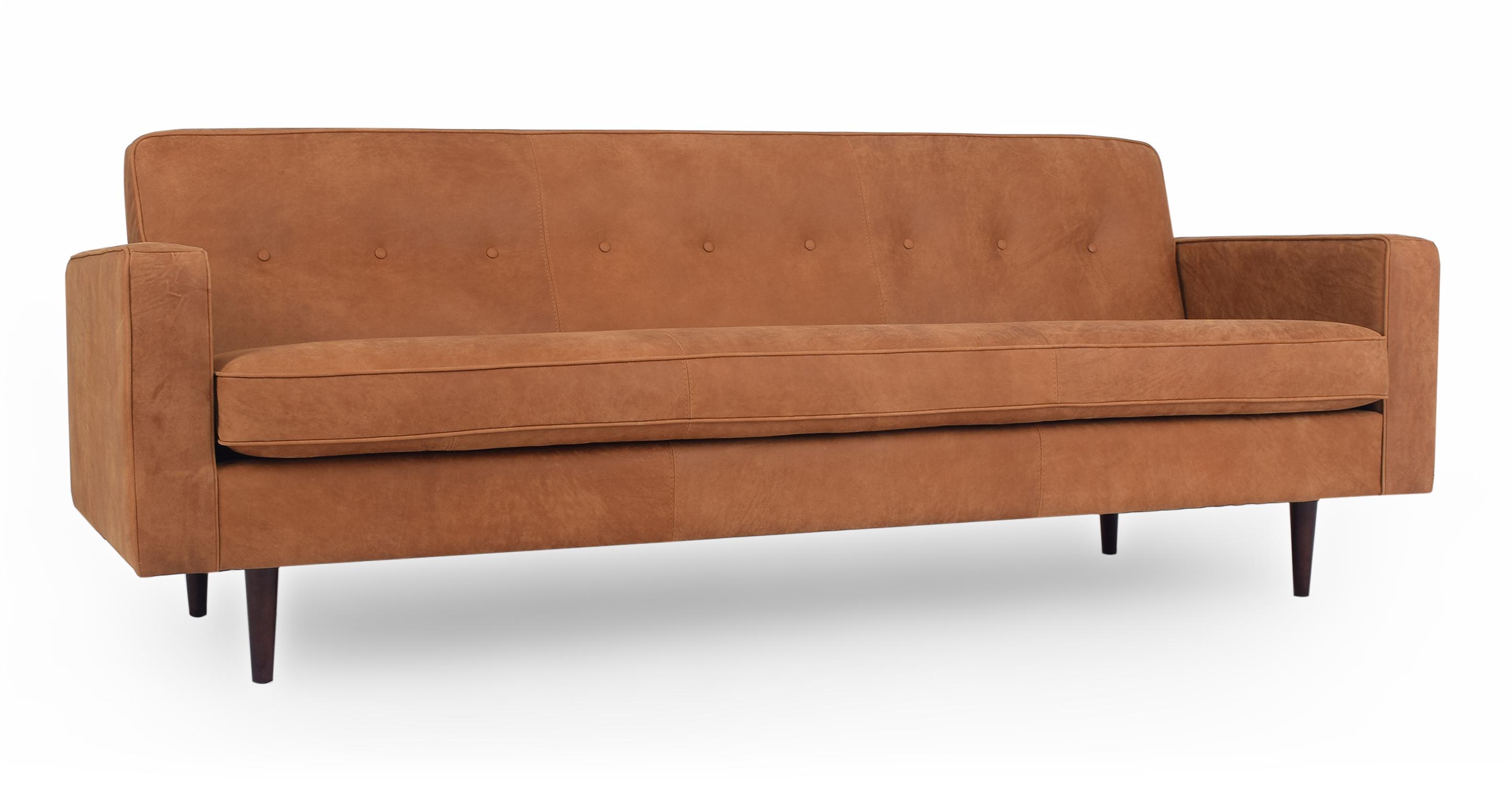 "Eleanor 85"" Leather Sofa, Cognac"