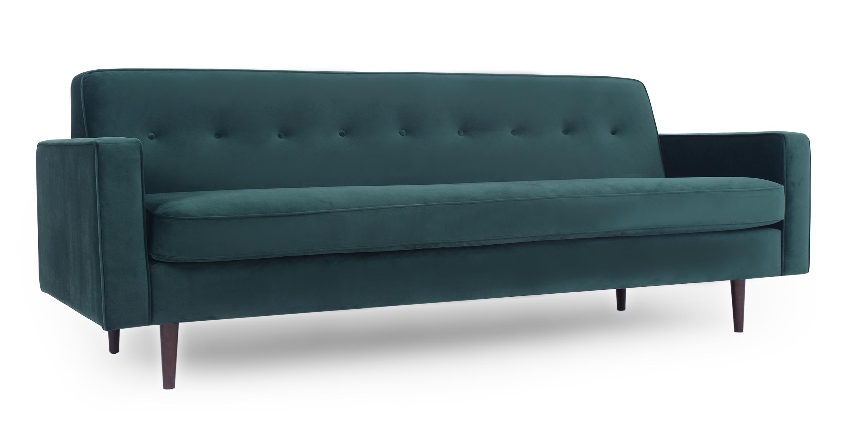 """Eleanor 85"""" Fabric Sofa,  Forest Velvet"""