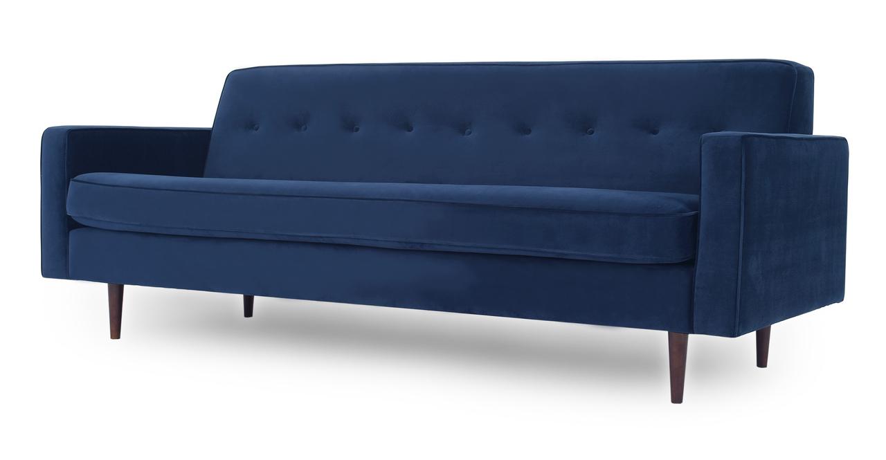 "Eleanor 85"" Fabric Sofa,  Royal Blue Velvet"