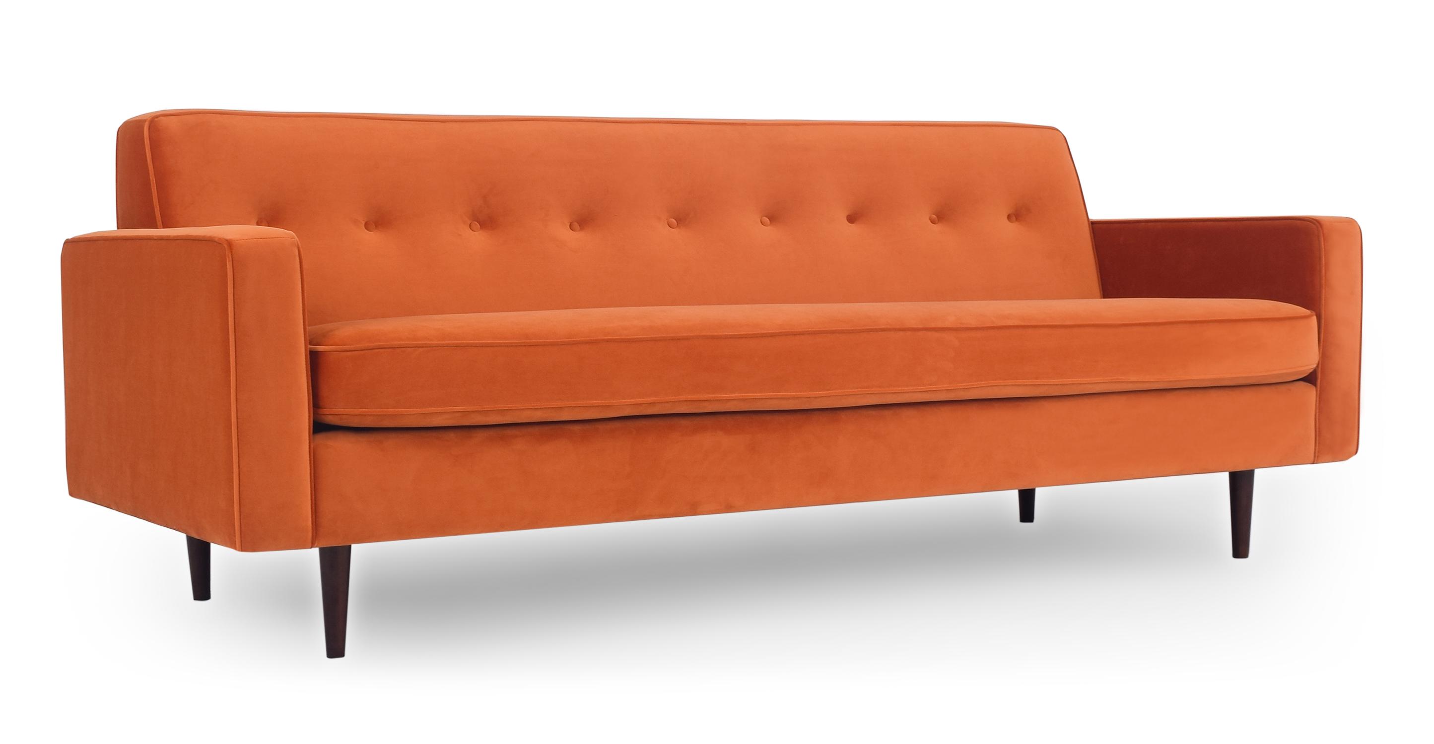 "Eleanor 85"" Fabric Sofa, Spice Velvet"