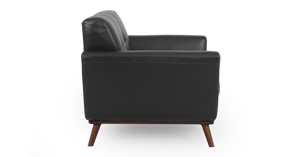 "Jackie 38"" Leather Armchair, Black Top Grain Aniline"
