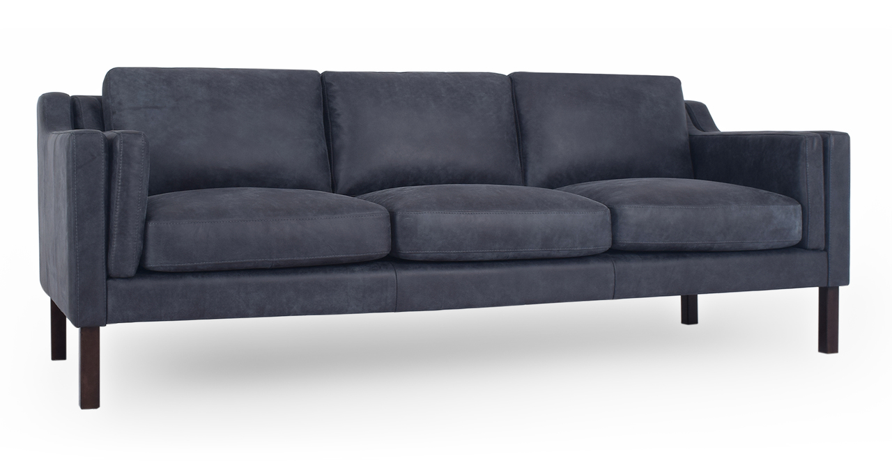 "Monroe 87"" Leather Sofa, Night Full Grain Aniline"