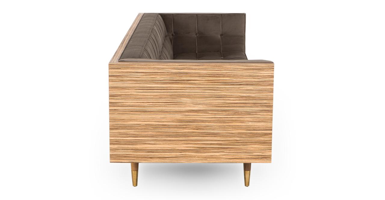 "Woodrow Box 87"" Fabric Sofa, Z-wood/Mink Velvet"